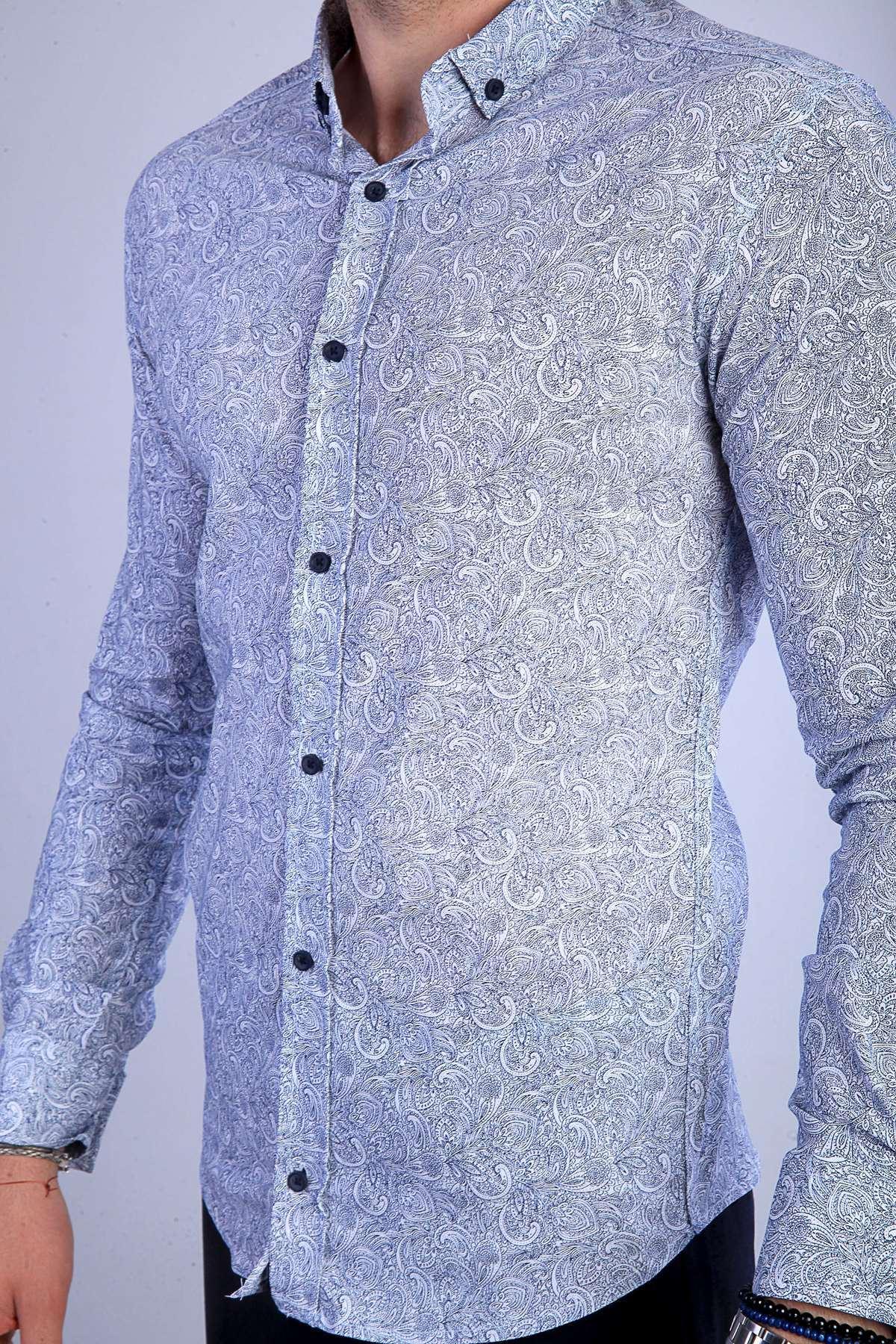 Karmaşık Çiçek Desenli Slim Fit Gömlek Beyaz-Lacivert