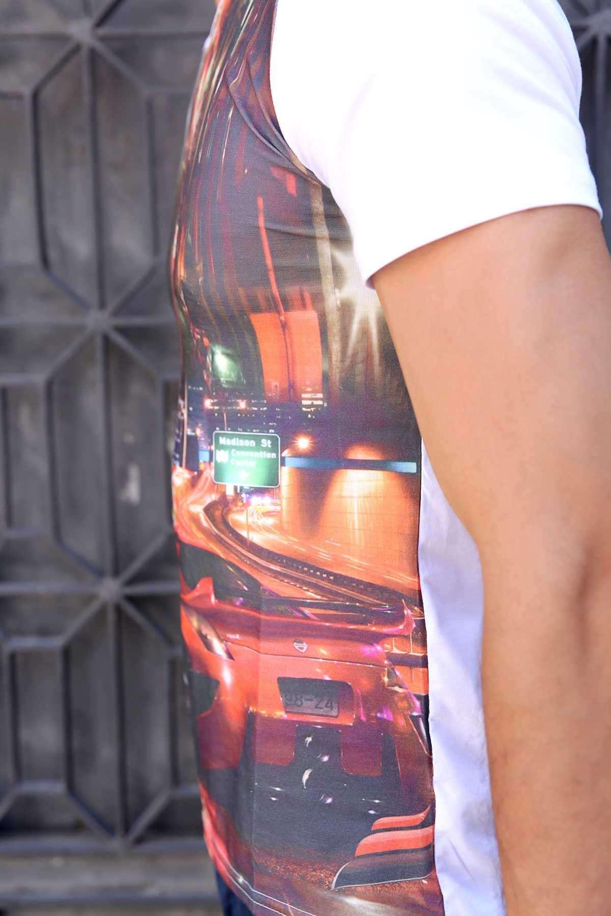 Kırmızı Spor Araba Baskı V Yaka Dijital Tişört Beyaz