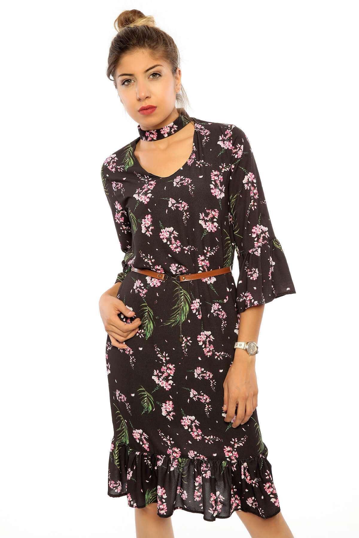 Kemerli Tasma Yaka Fırfırlı Elbise Siyah