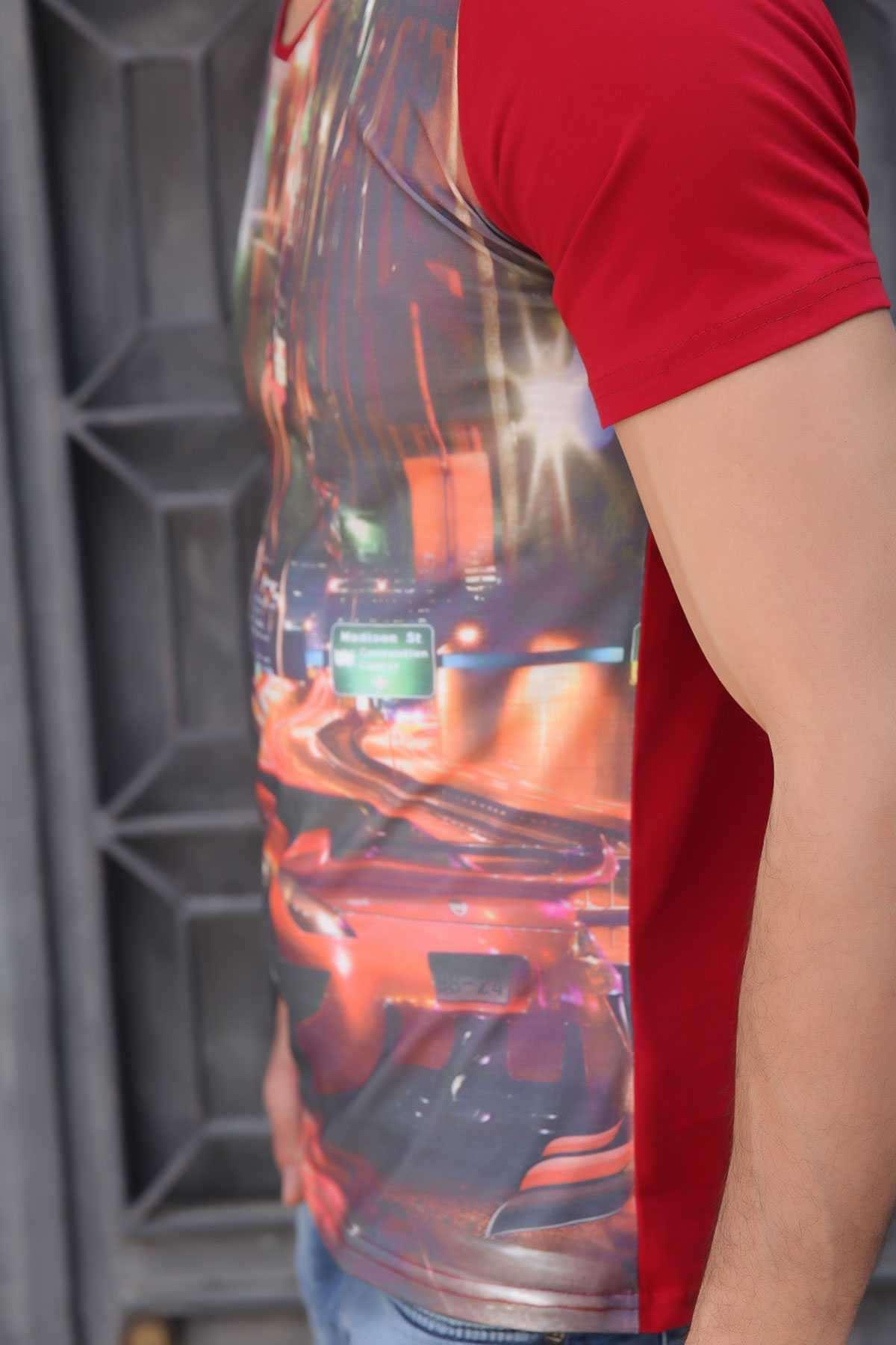 Kırmızı Spor Araba Baskı V Yaka Dijital Tişört Bordo