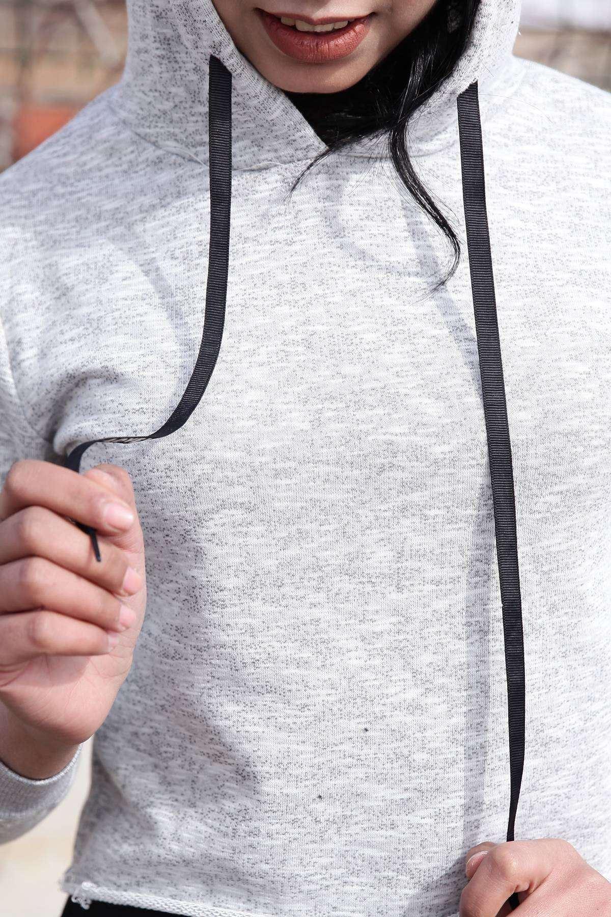 Kol Şerit Yazılı Kapşonlu Mini Sweatshirt Gri