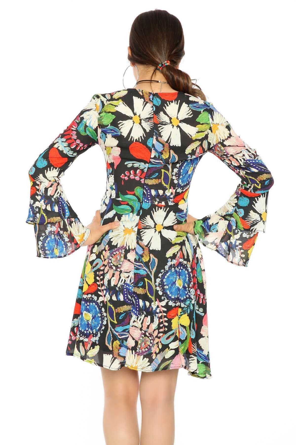 Kol Fırfırlı Renkli Çiçek Desen Elbise Siyah