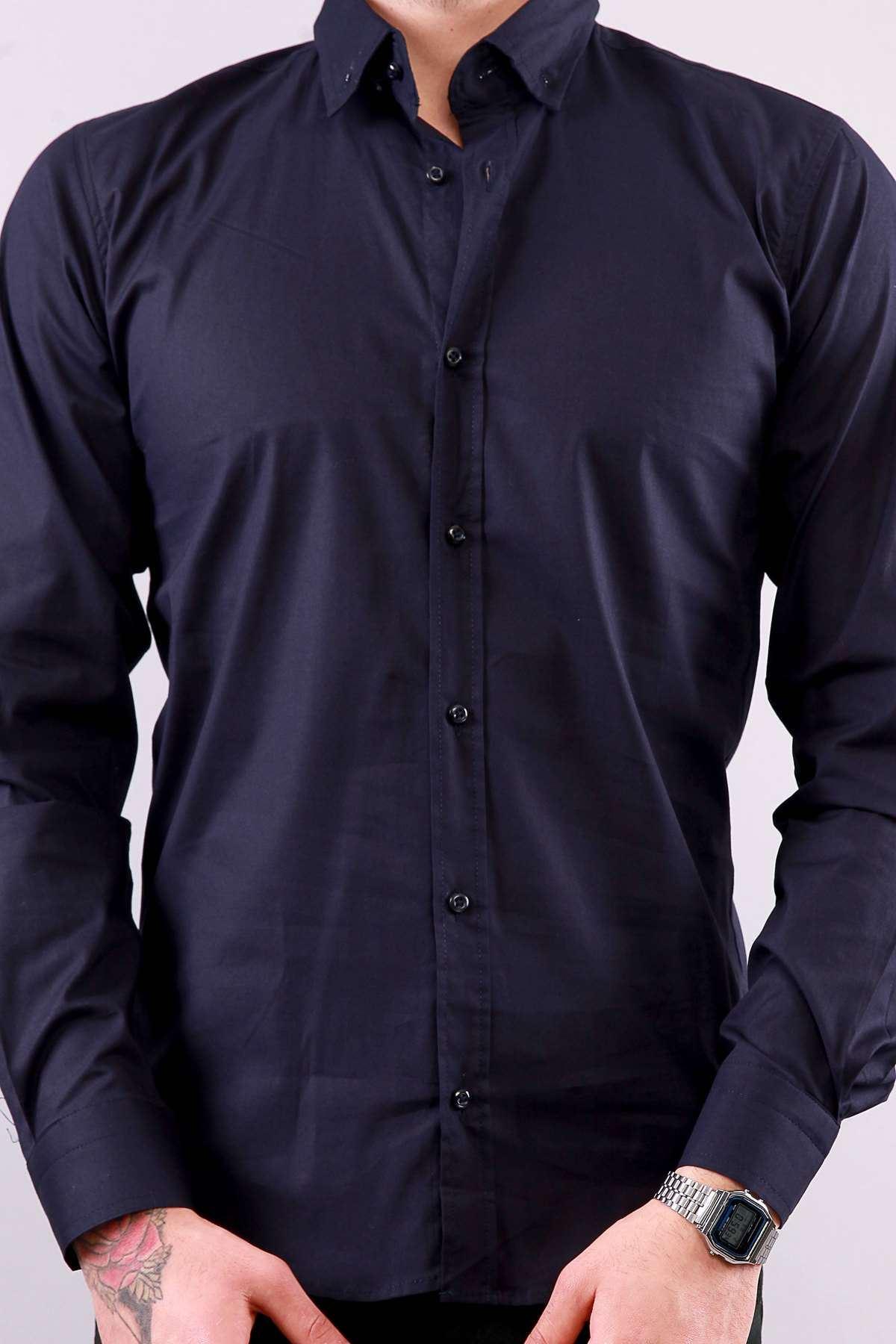 Klasik Yaka Likralı Slim Fit Gömlek Lacivert