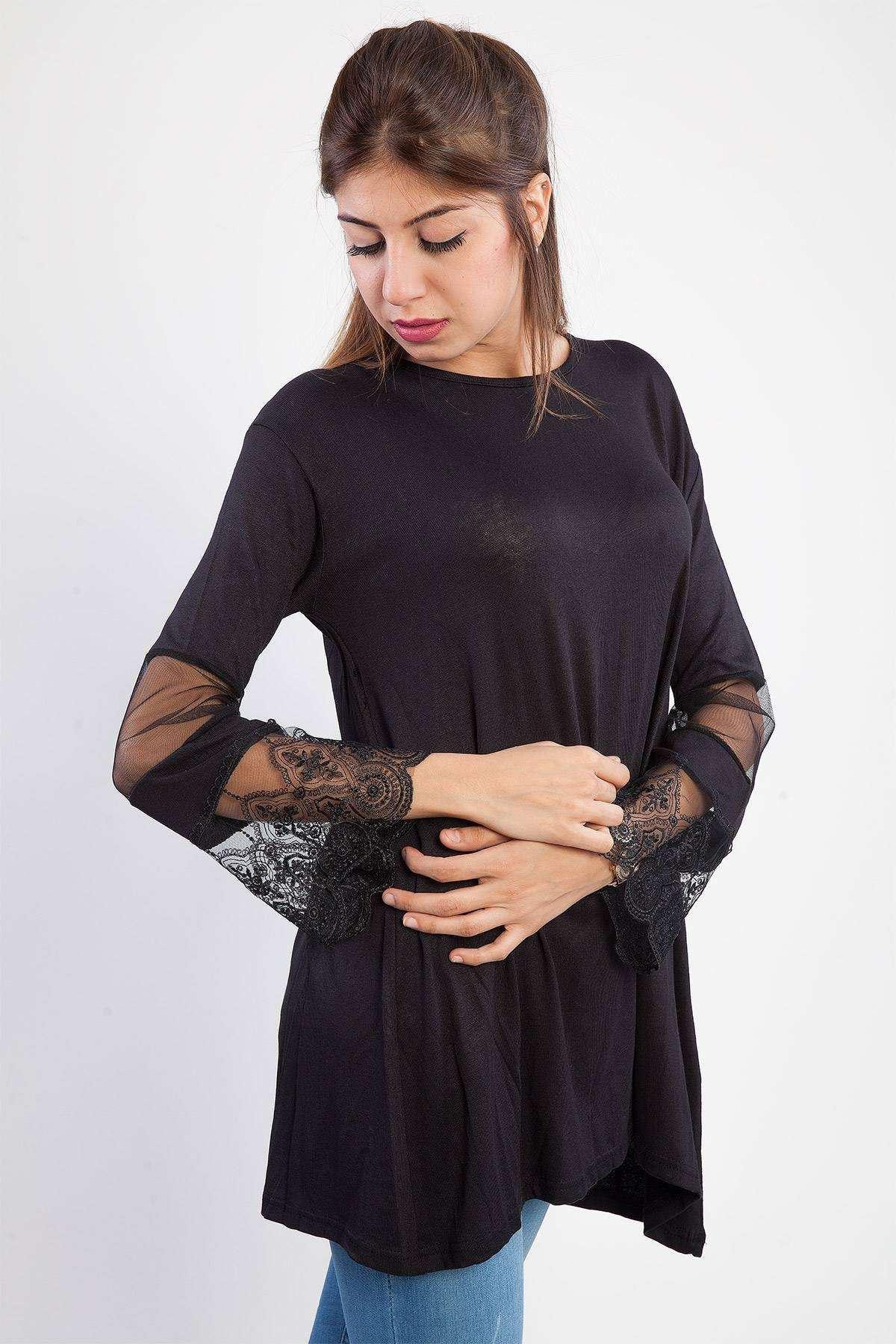 Kol Dantel İşleme Detaylı Sıfır Yaka Sweatshirt Siyah