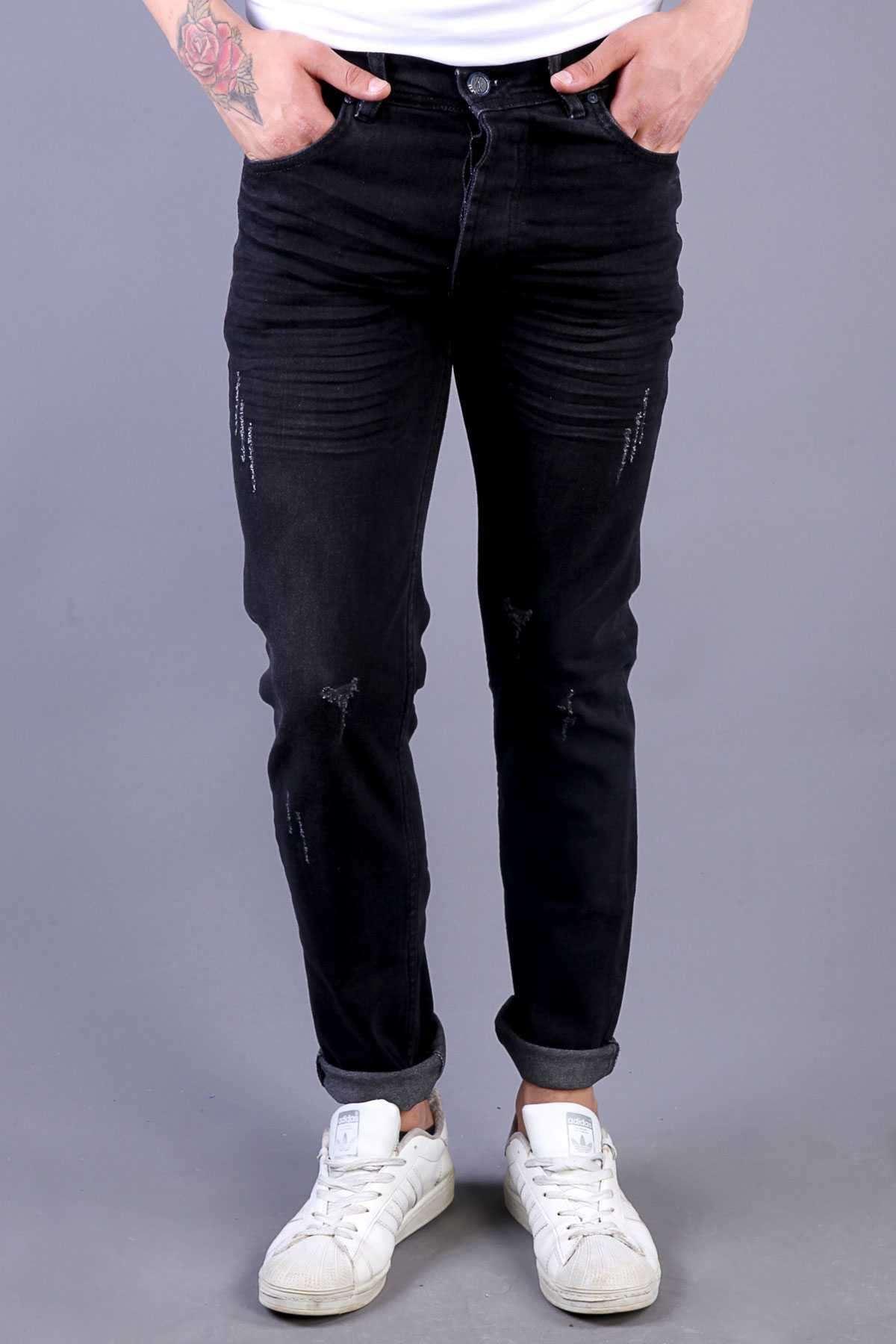 Klinkırlı Lazer Tırtıklı Slim Fit Kot Pantolon Siyah
