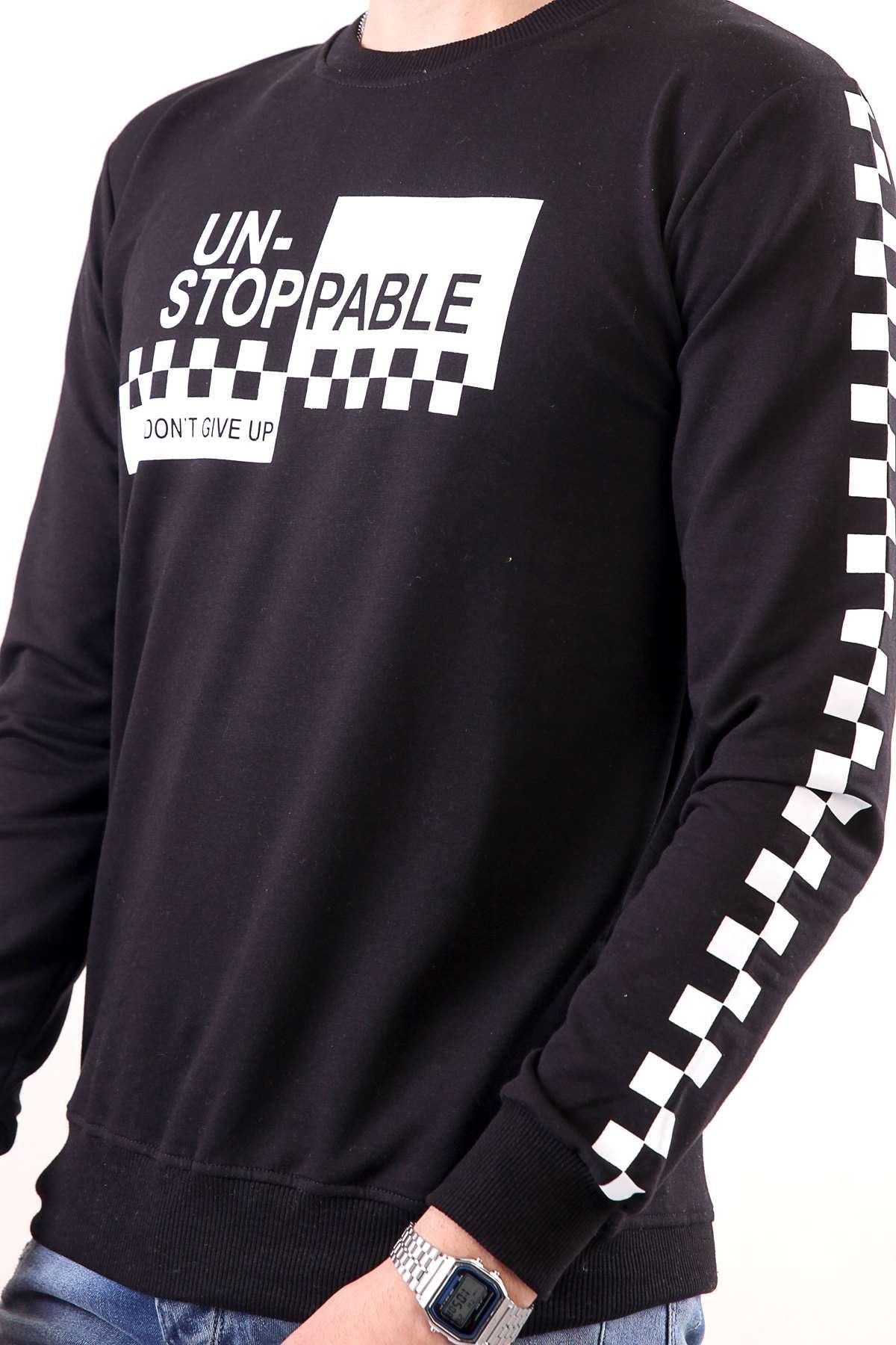 Kol Göğüs Dama Baskılı Sweatshirt Siyah