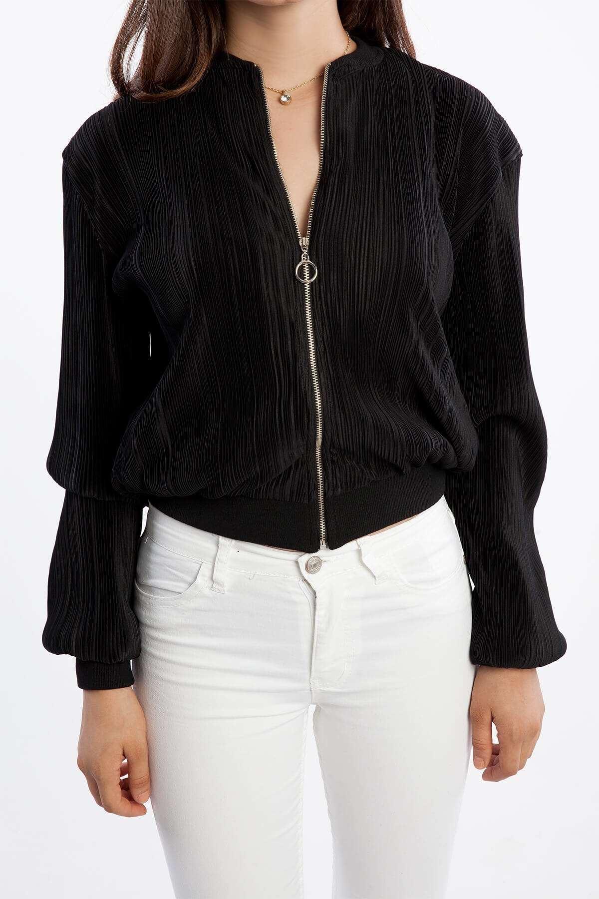 Klinkırlı Fermuar Detaylı Ceket Siyah