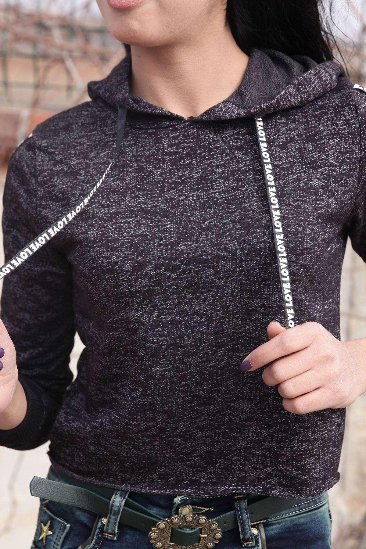Kol Şerit Yazılı Kapşonlu Mini Sweatshirt Siyah