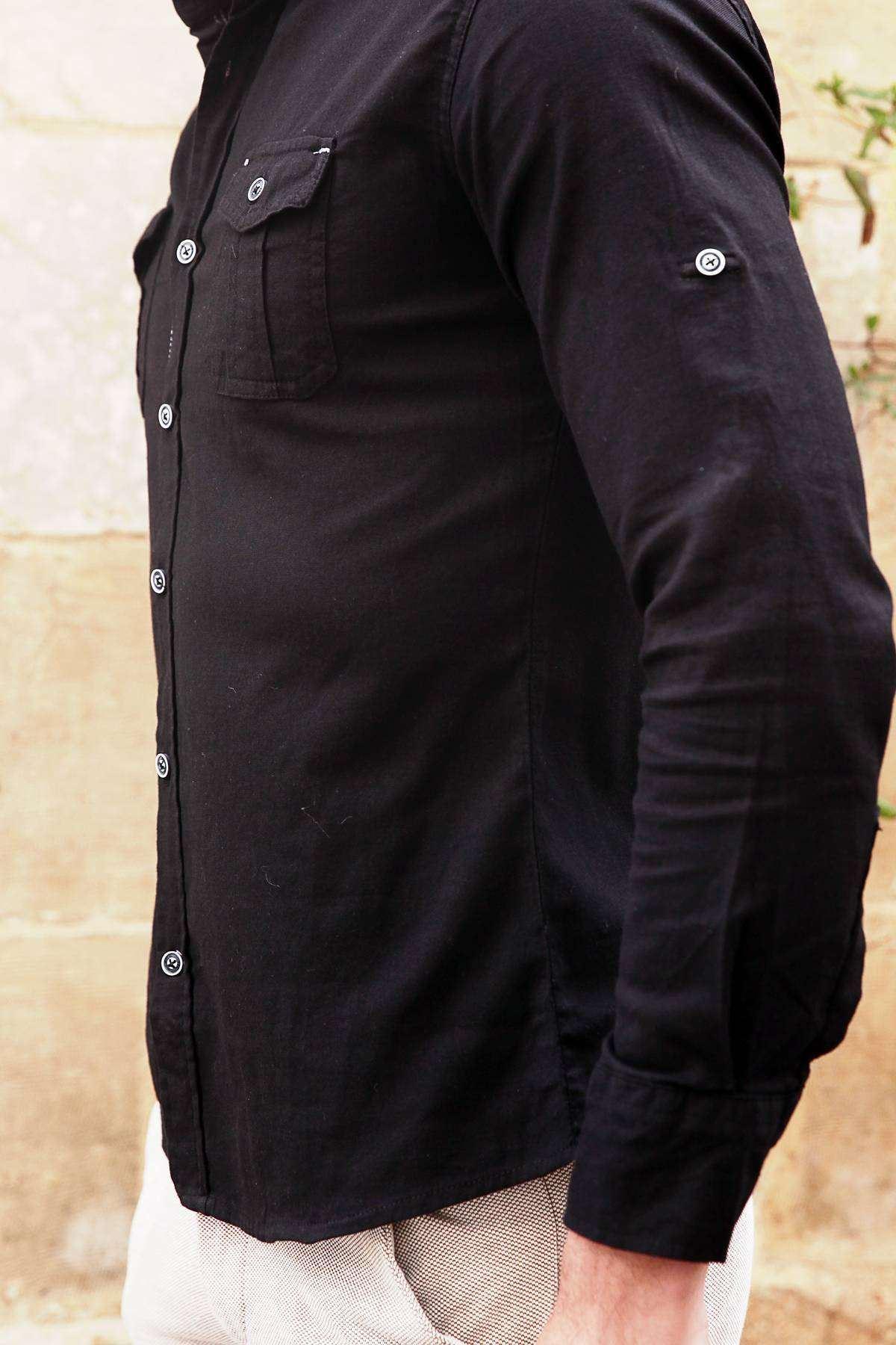 Klasik Yaka Çift Cep Slim Fit Gömlek Siyah