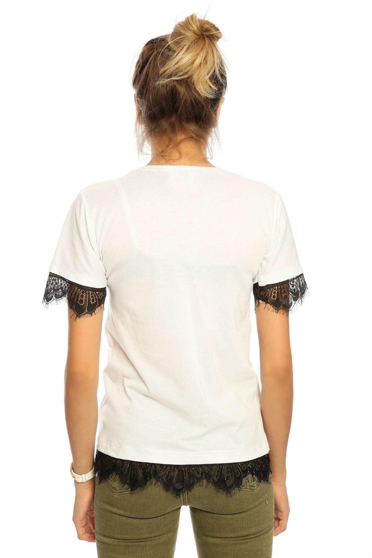 Kol Etek Güpür Baskılı Kısa Kol Tişört Beyaz