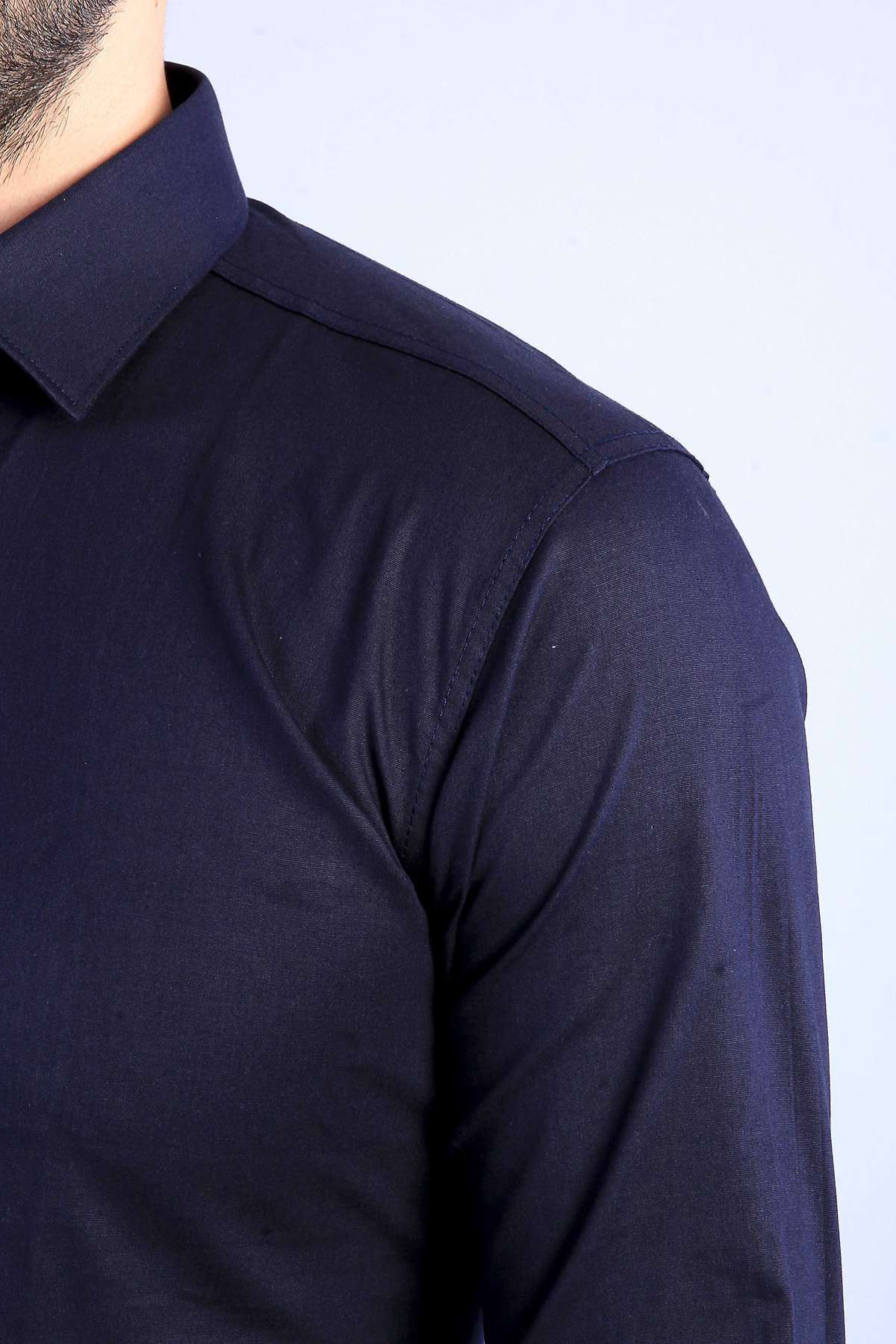 Klasik Yaka Uzun Kol Slim Fit Gömlek Koyu Lacivert