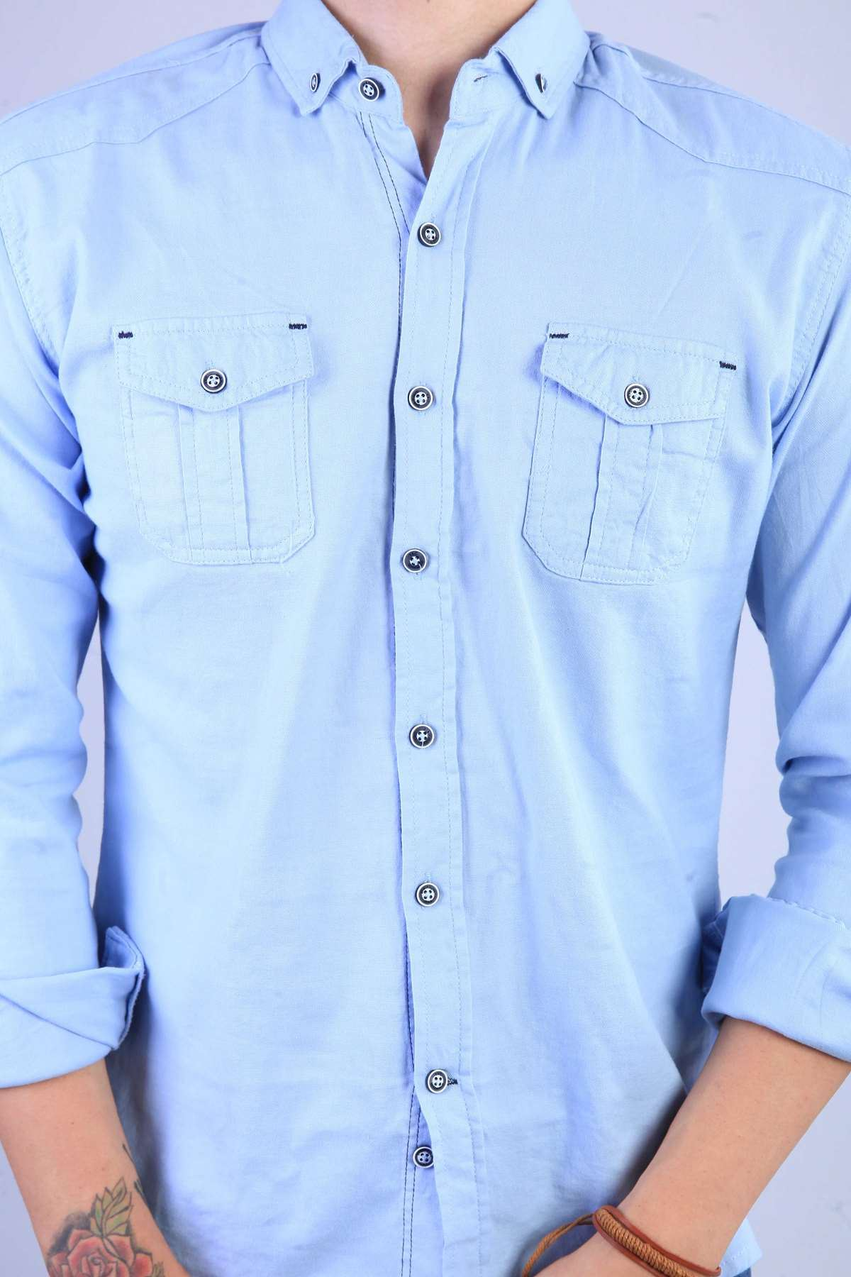 Klasik Yaka Çift Cep Slim Fit Gömlek B.Mavi
