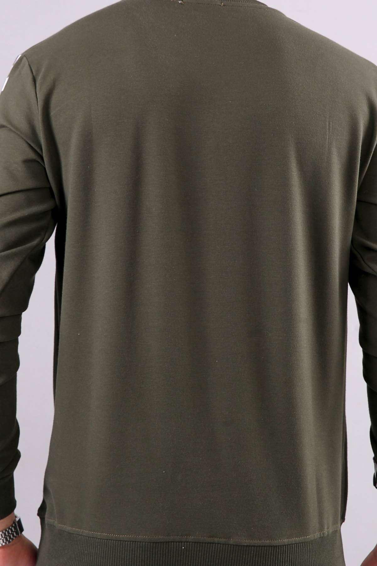 Kol Göğüs Dama Baskılı Sweatshirt Haki