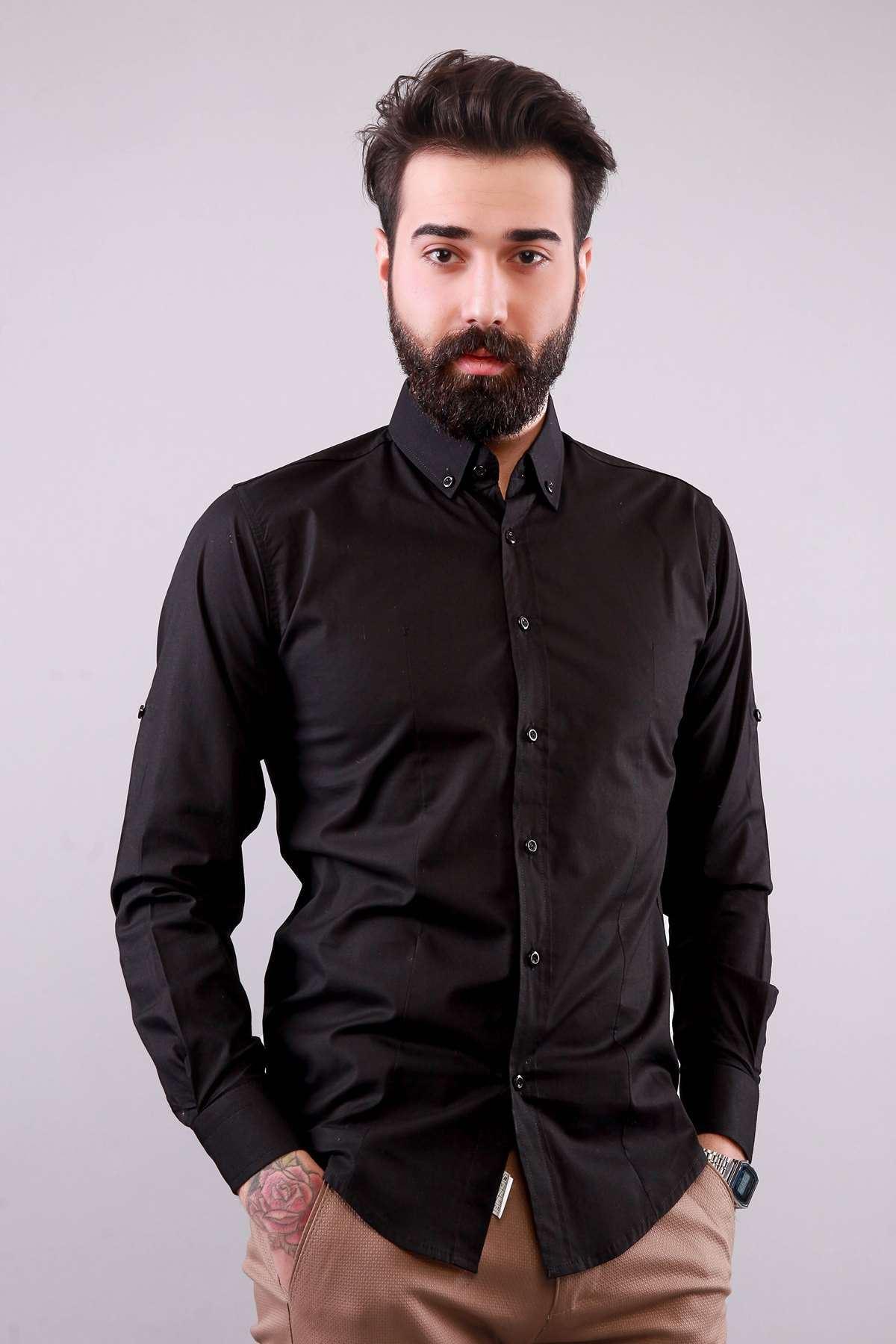 Klasik Yaka Likralı Slim Fit Gömlek Siyah