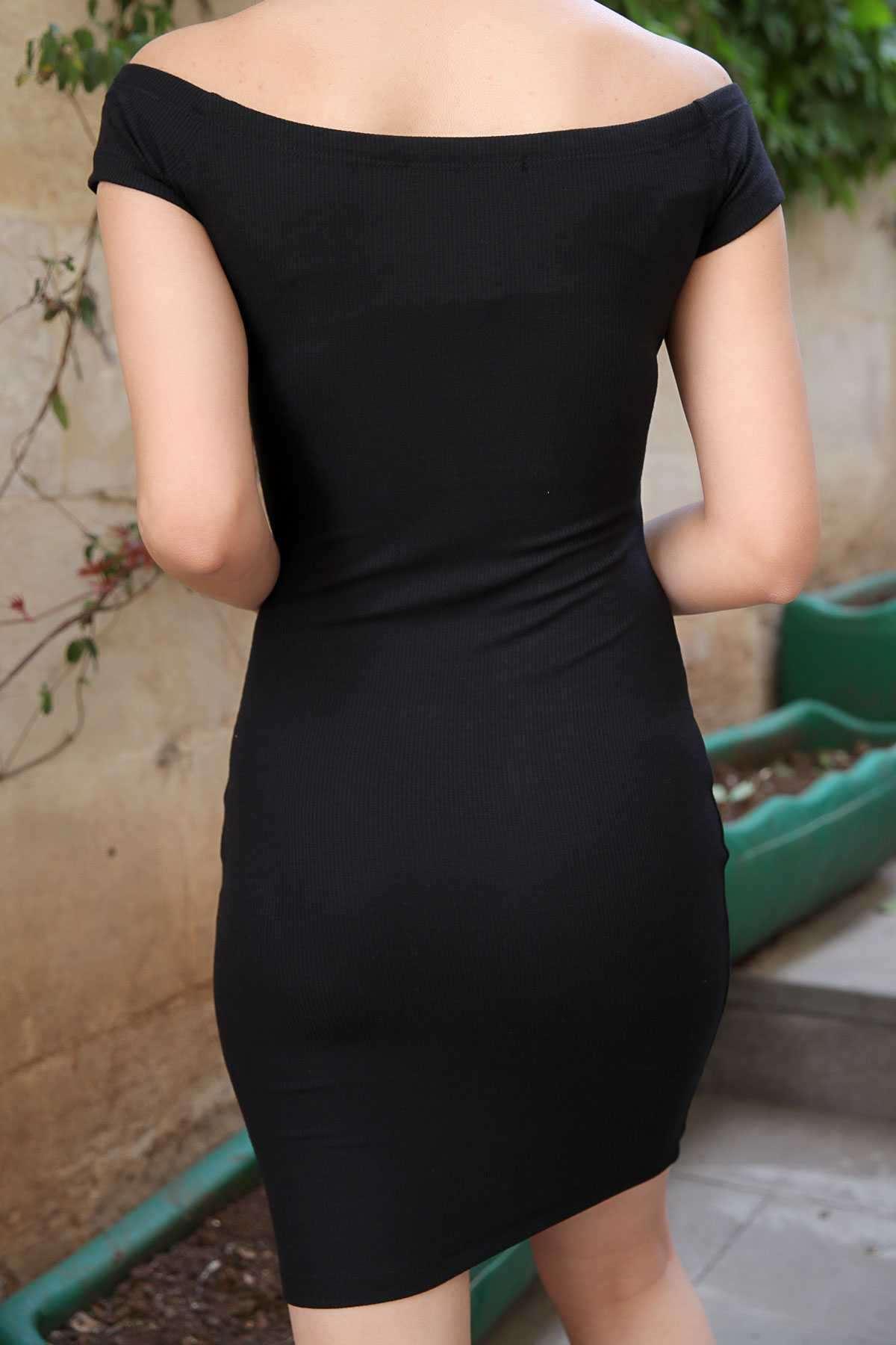 Kısa Kollu Boyuna İnce Fitilli Elbise Siyah