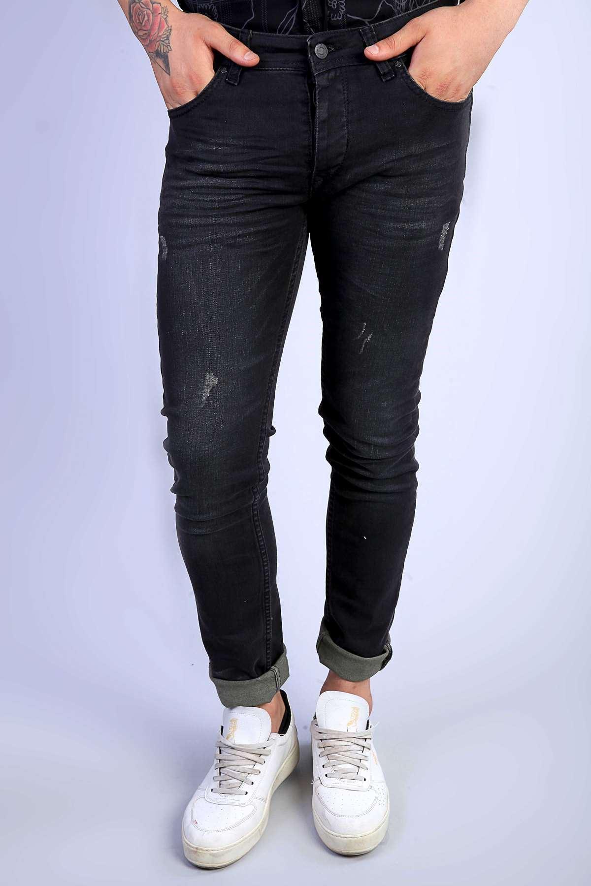Klinkırlı Lazer Tırtıklı Slim Fit Kot Pantolon Antrasit