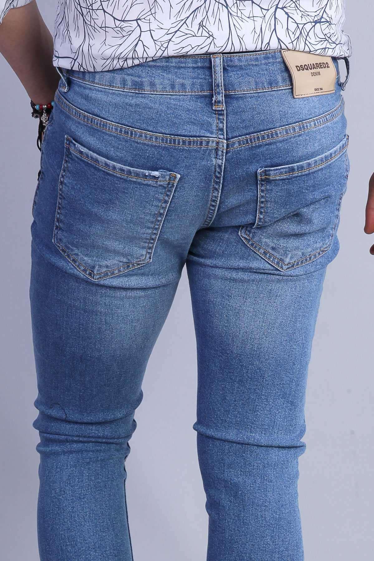 Klinkırlı Taşlamalı Slim Fit Kot Pantolon Mavi