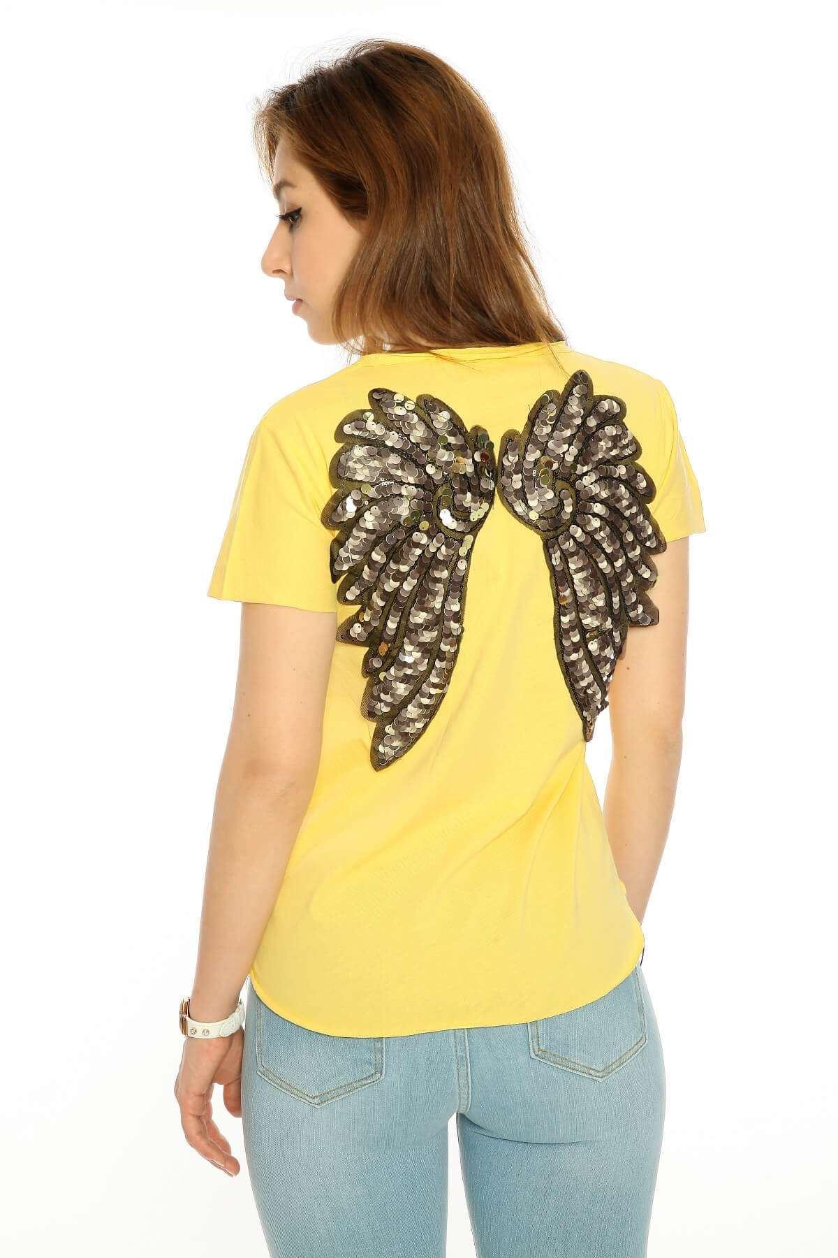 Kirli V Yaka Melek Kanatlı Tişört Sarı