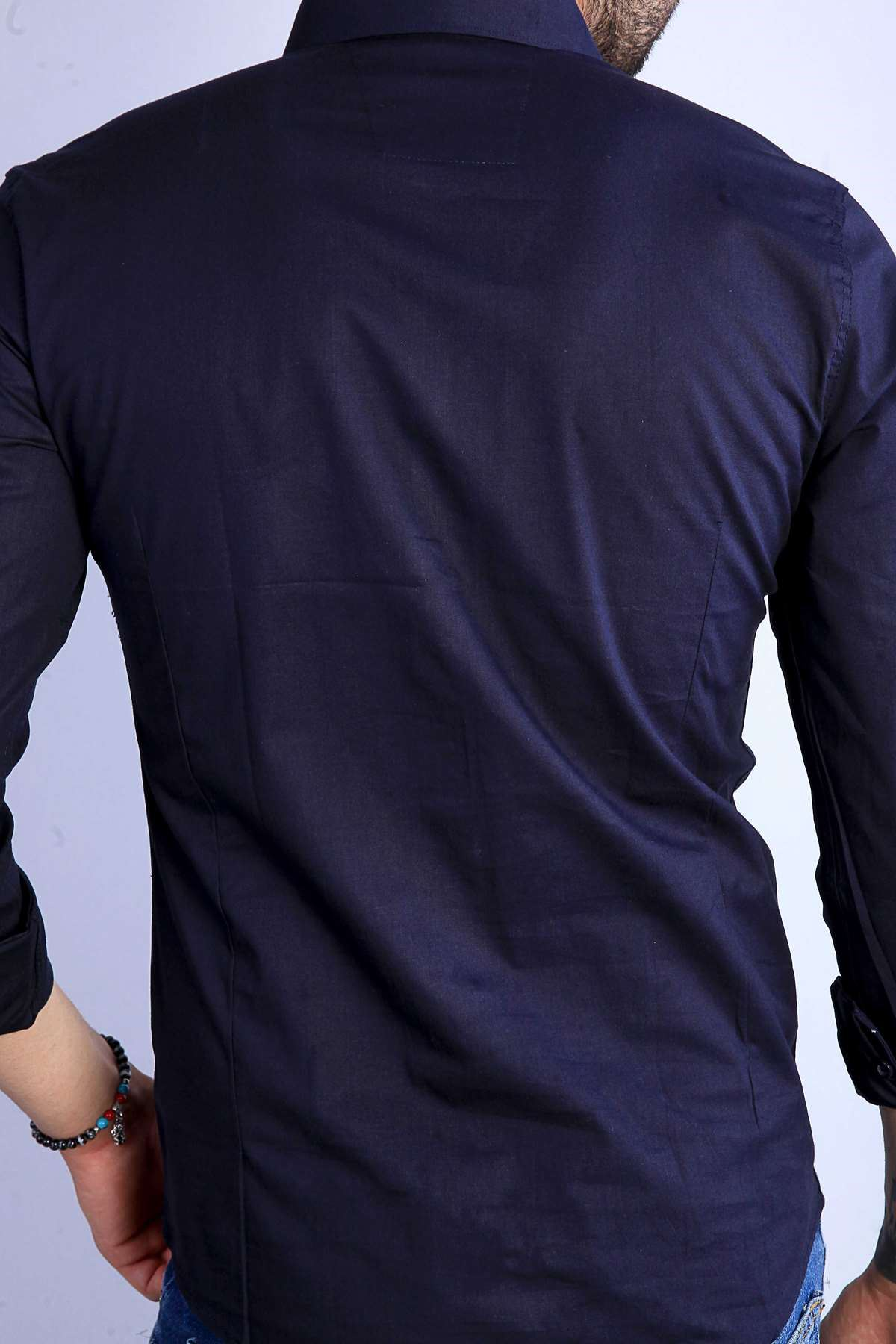 Klasik Yaka Uzun Kol Slim Fit Gömlek Lacivert