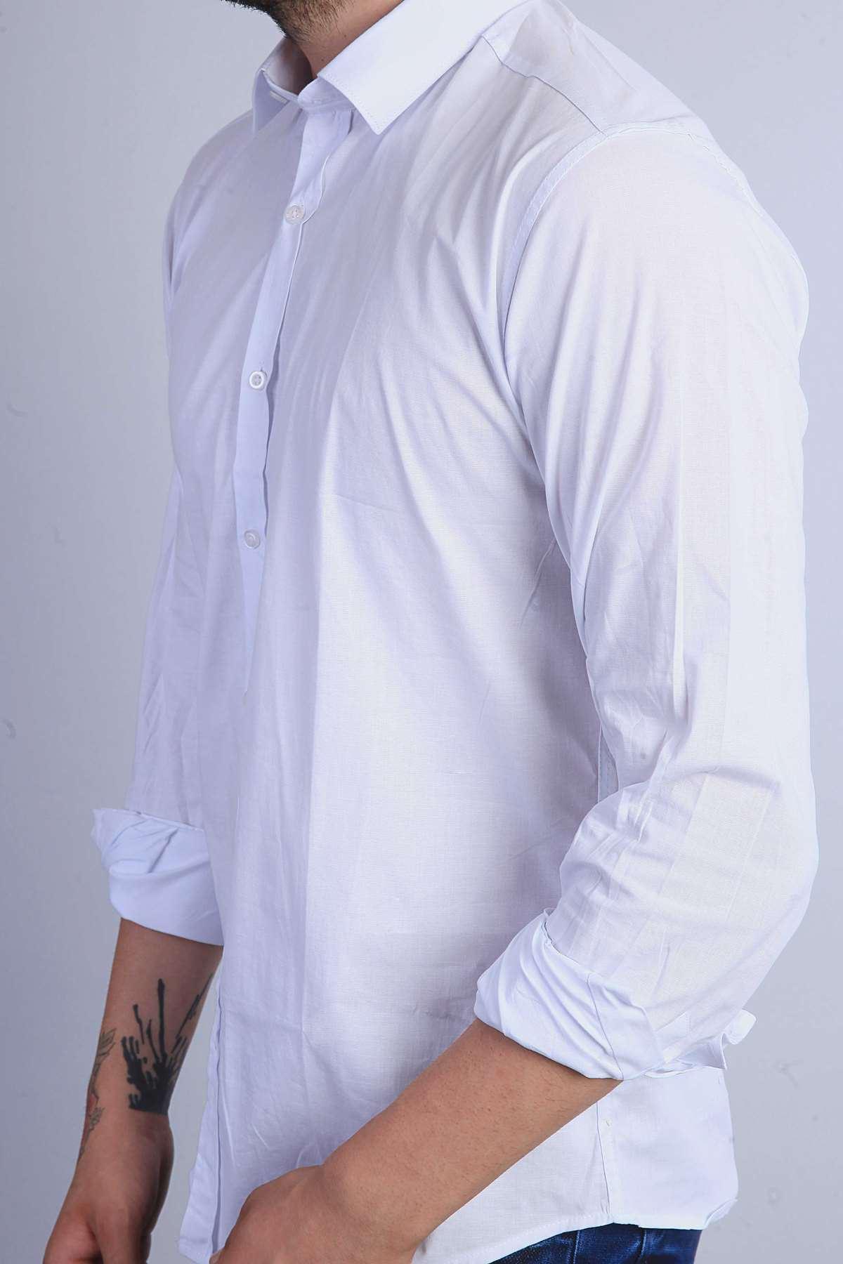 Klasik Yaka Uzun Kol Slim Fit Gömlek Beyaz