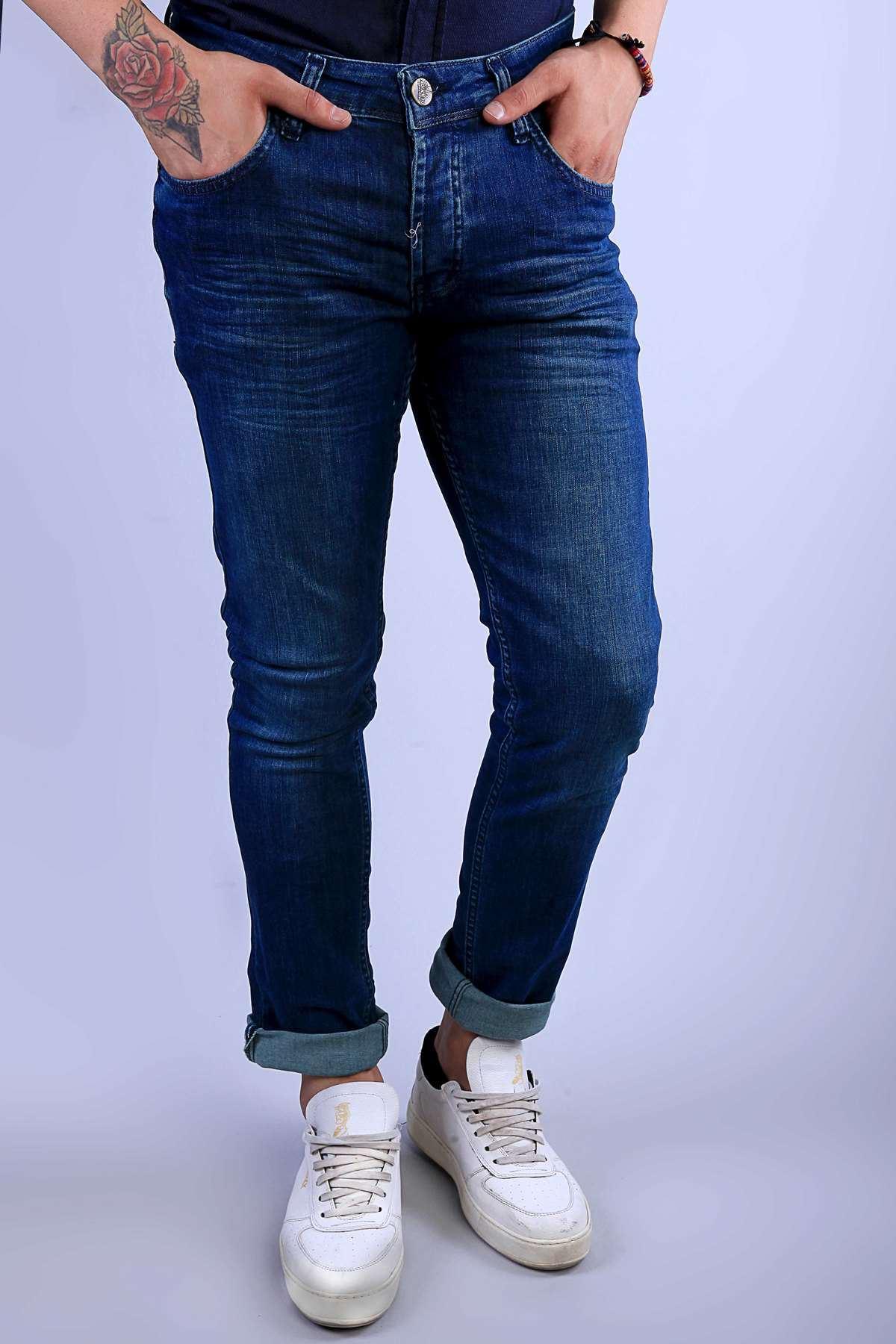 Klinkırlı Eskitme Kot Pantolon Mavi