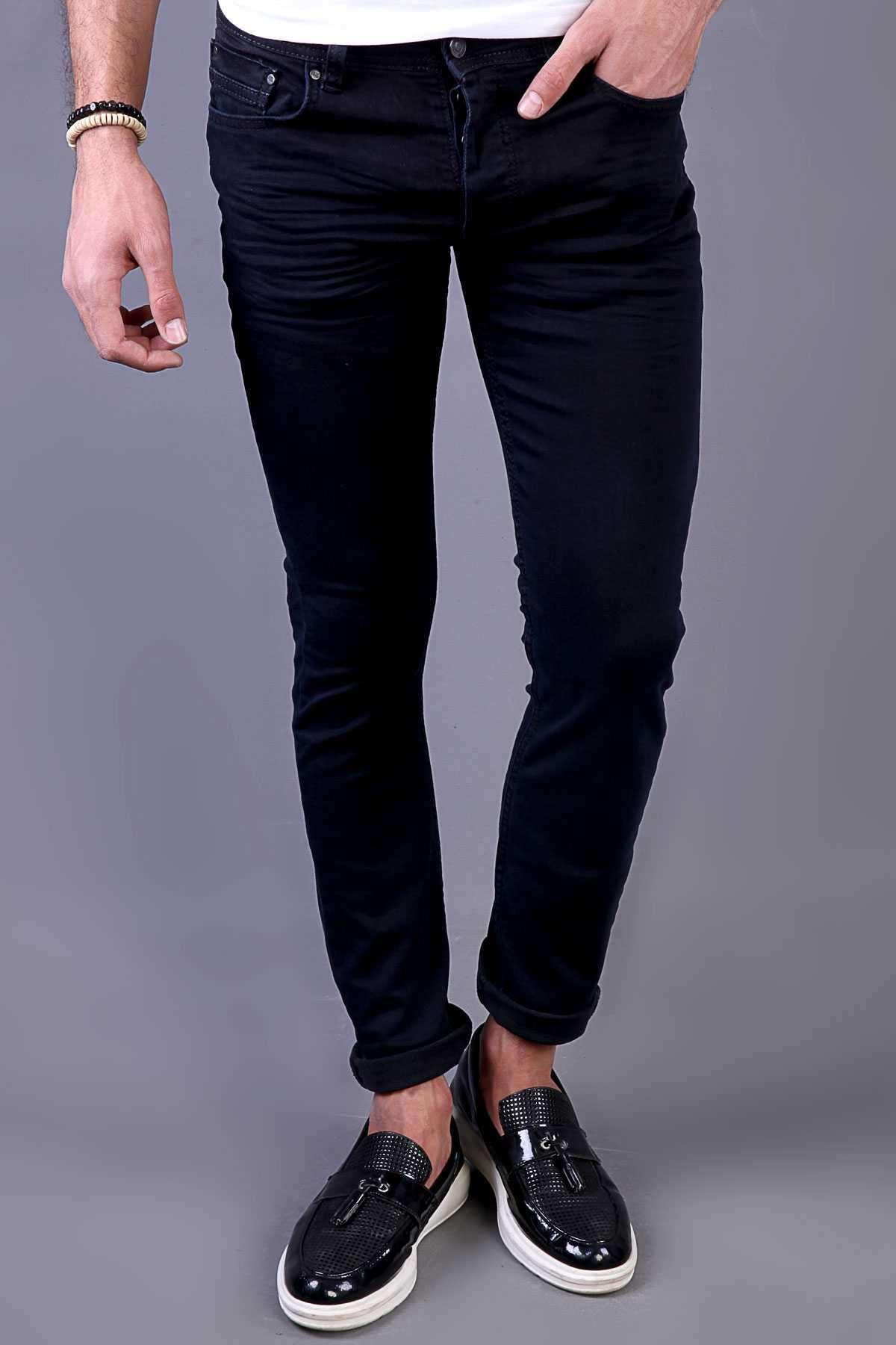 Klinkırlı Basic Slim Fit Kot Pantolon Koyu Lacivert