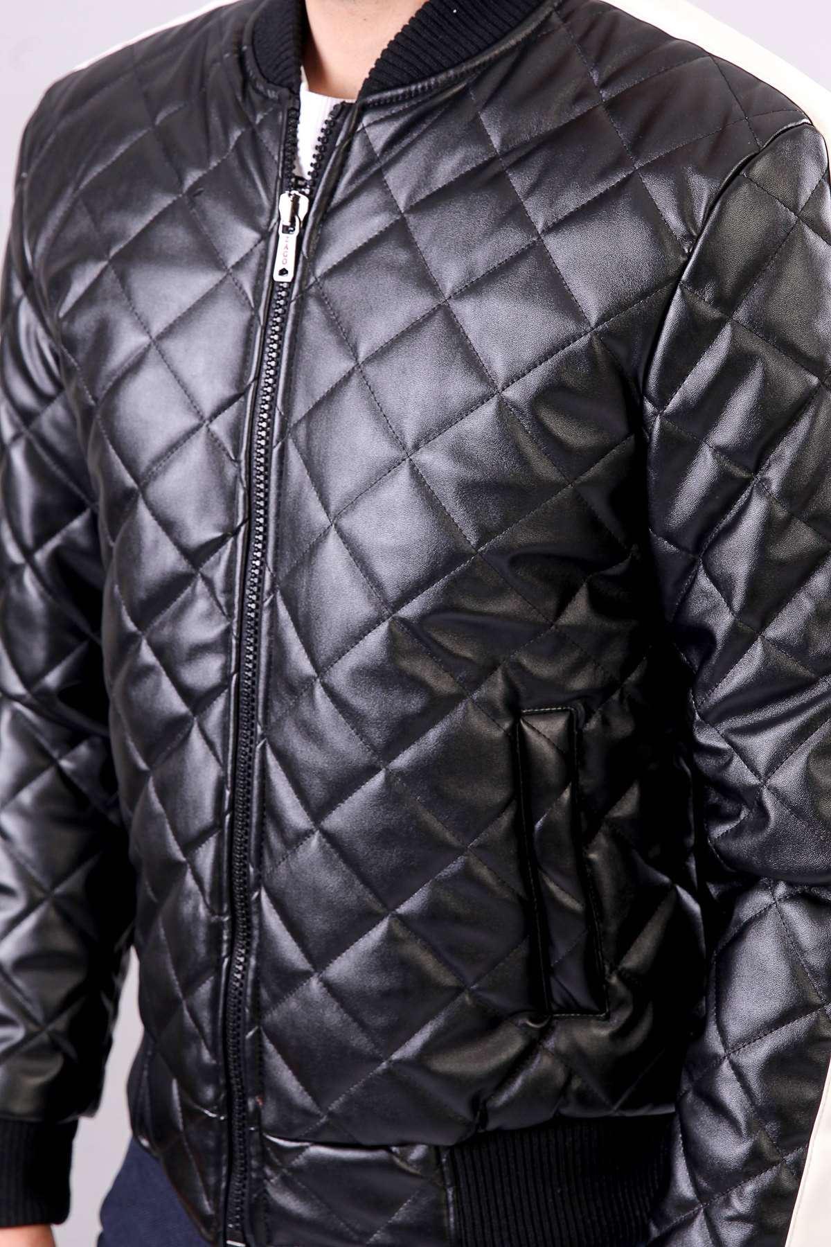 Kol Boydan Beyaz Şeritli Baklava Desen Şişme Deri Mont Siyah