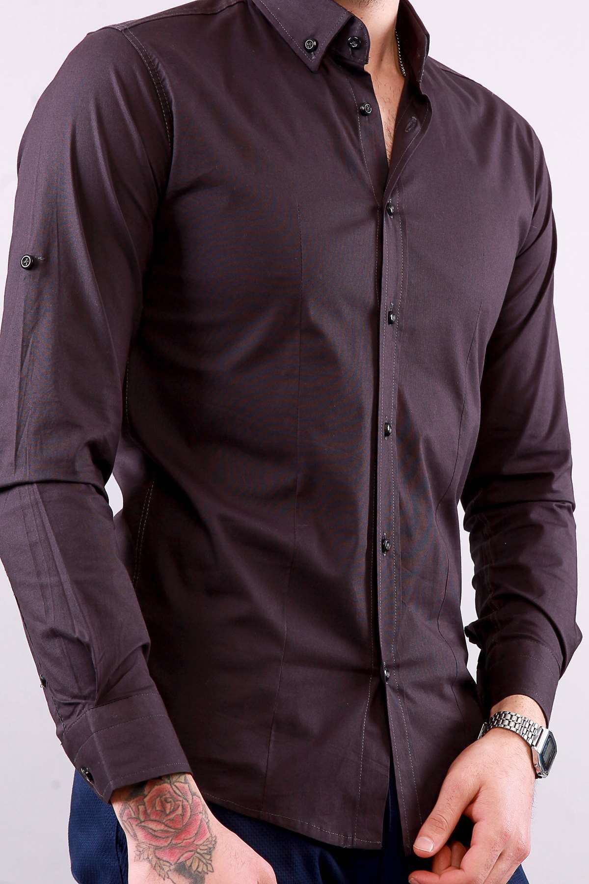 Klasik Yaka Likralı Slim Fit Gömlek Koyu Lacivert