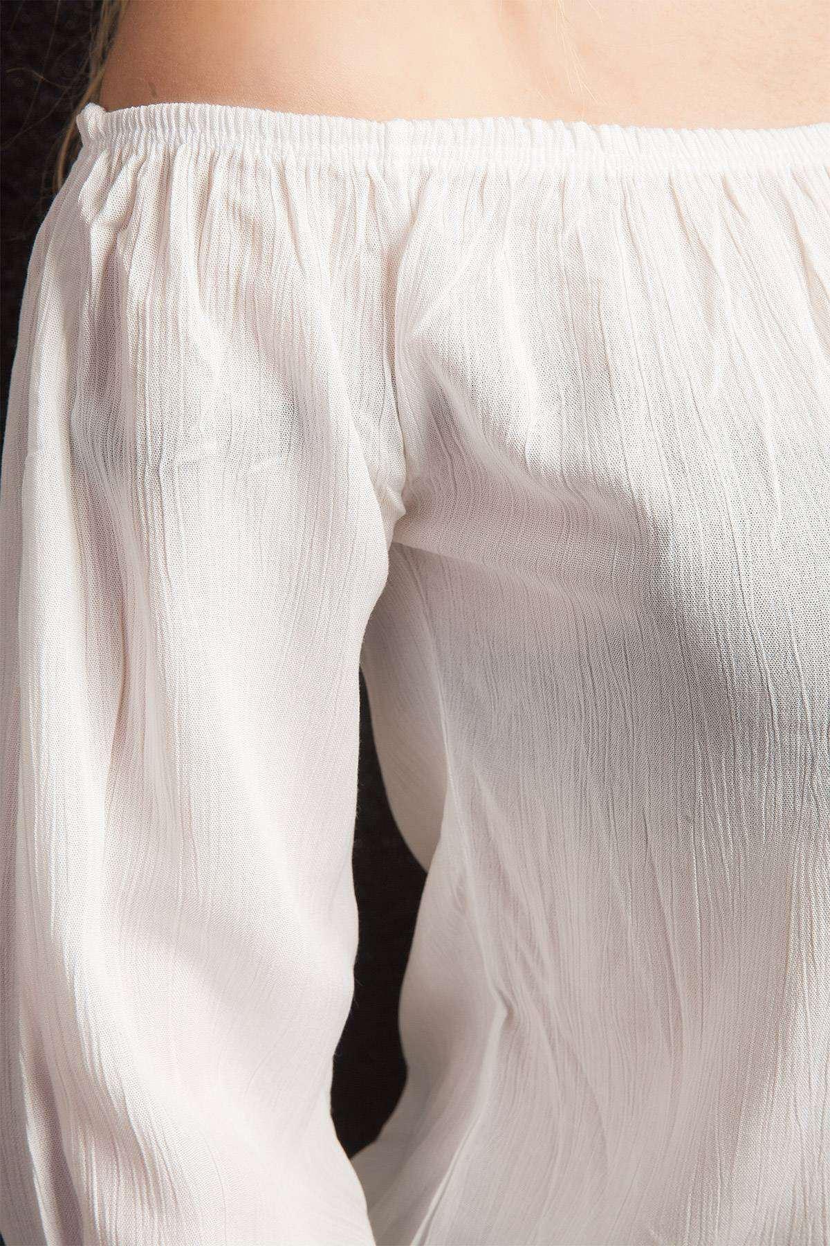 Kol Bağlamalı Straplez Bluz Beyaz