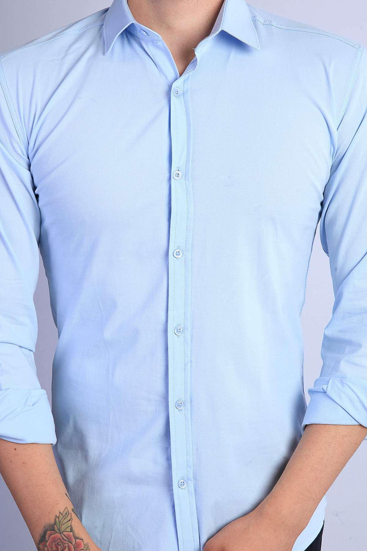 Klasik Yaka Uzun Kol Slim Fit Gömlek Mavi