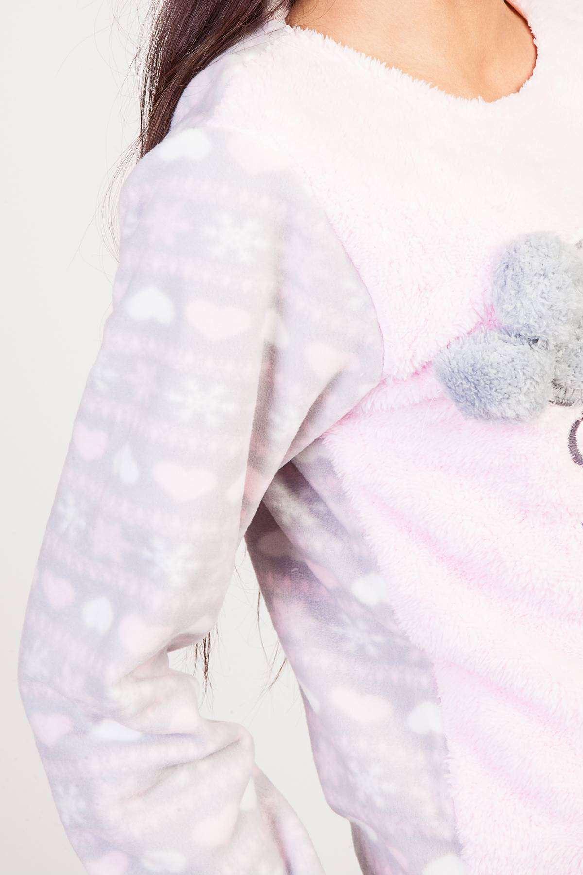 Koala Resimli Yazı Detaylı Kalp Baskılı Yumoş Pijama Takımı Pembe