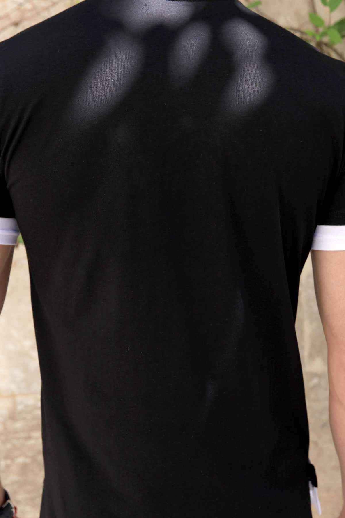 Kol Ucu Ve Eteği Astarlı Önü Cash Yazılı Sıfır Yaka Tişört Siyah