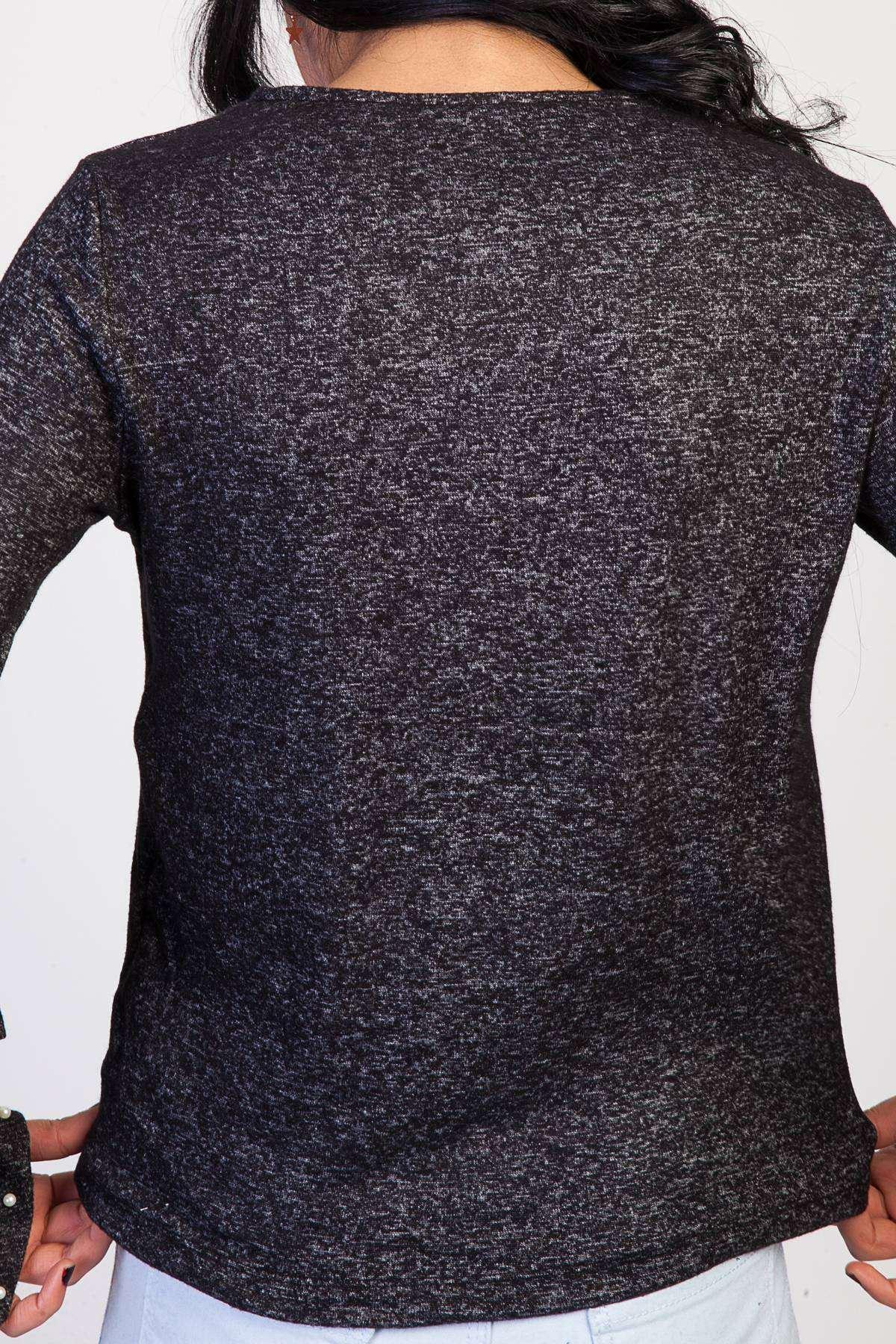 Kolları İspanyol Fırfırlı İncili Sıfır Yaka Bluz Siyah