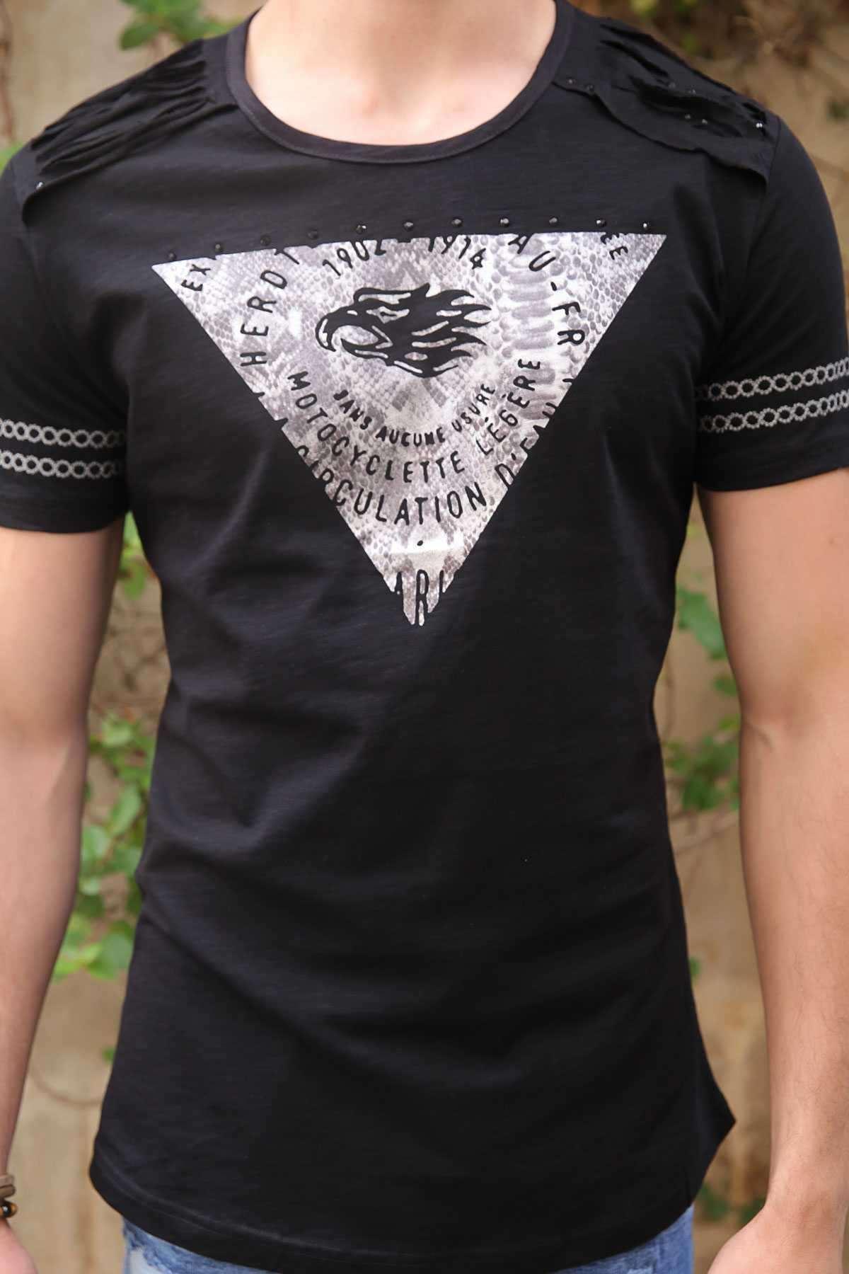 Kolları Nakışlı Göğüs Kartallı Yazılı Slim Fit Tişört Siyah