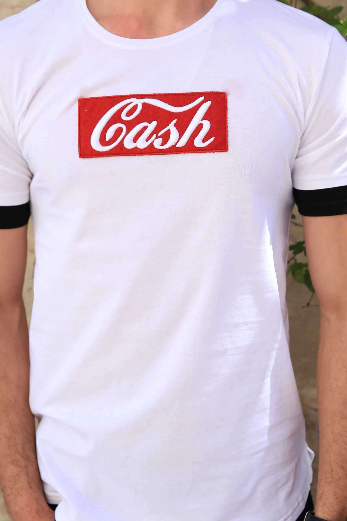 Kol Ucu Ve Eteği Astarlı Önü Cash Yazılı Sıfır Yaka Tişört Beyaz