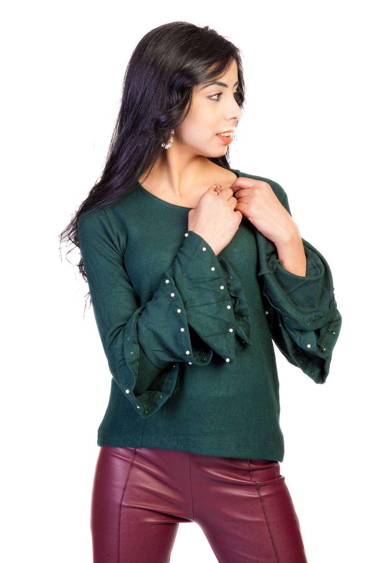 Kolları İspanyol Fırfırlı İncili Sıfır Yaka Bluz Yeşil