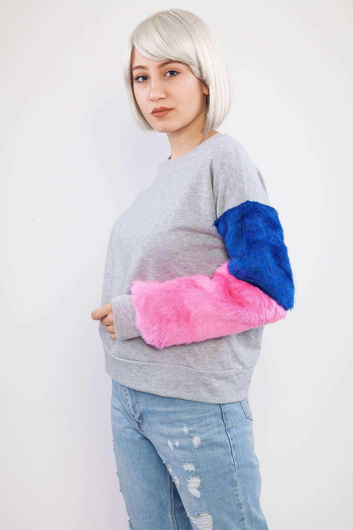 Kolu Kürklü Sweatshirt Gri