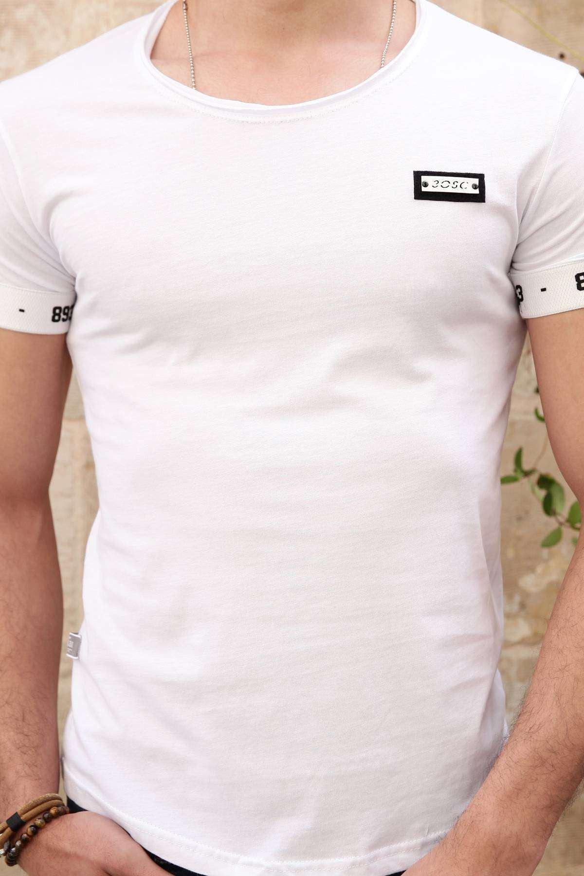 Kol Ucu Lastıkli 893 Baskılı Pis Yaka Tişört Beyaz