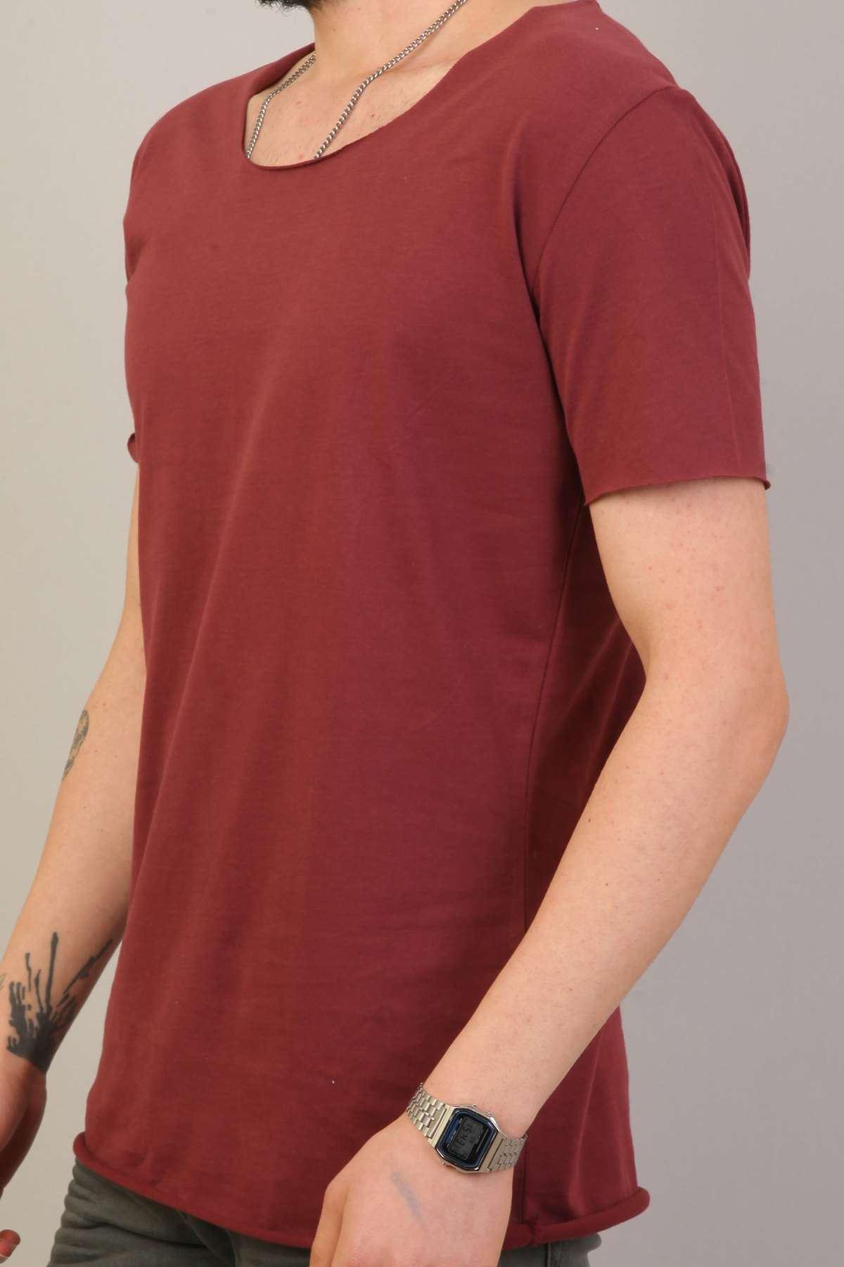 Kol Yaka Salaş Kesik Penye Basic Tişört Bordo