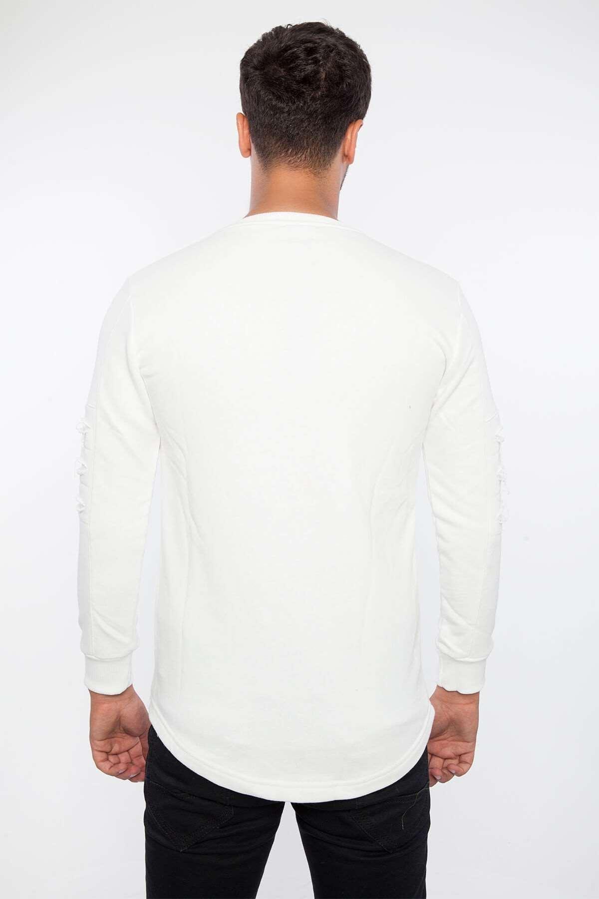 Kolu Lazer Kesikli Cepli Sweatshirt Beyaz