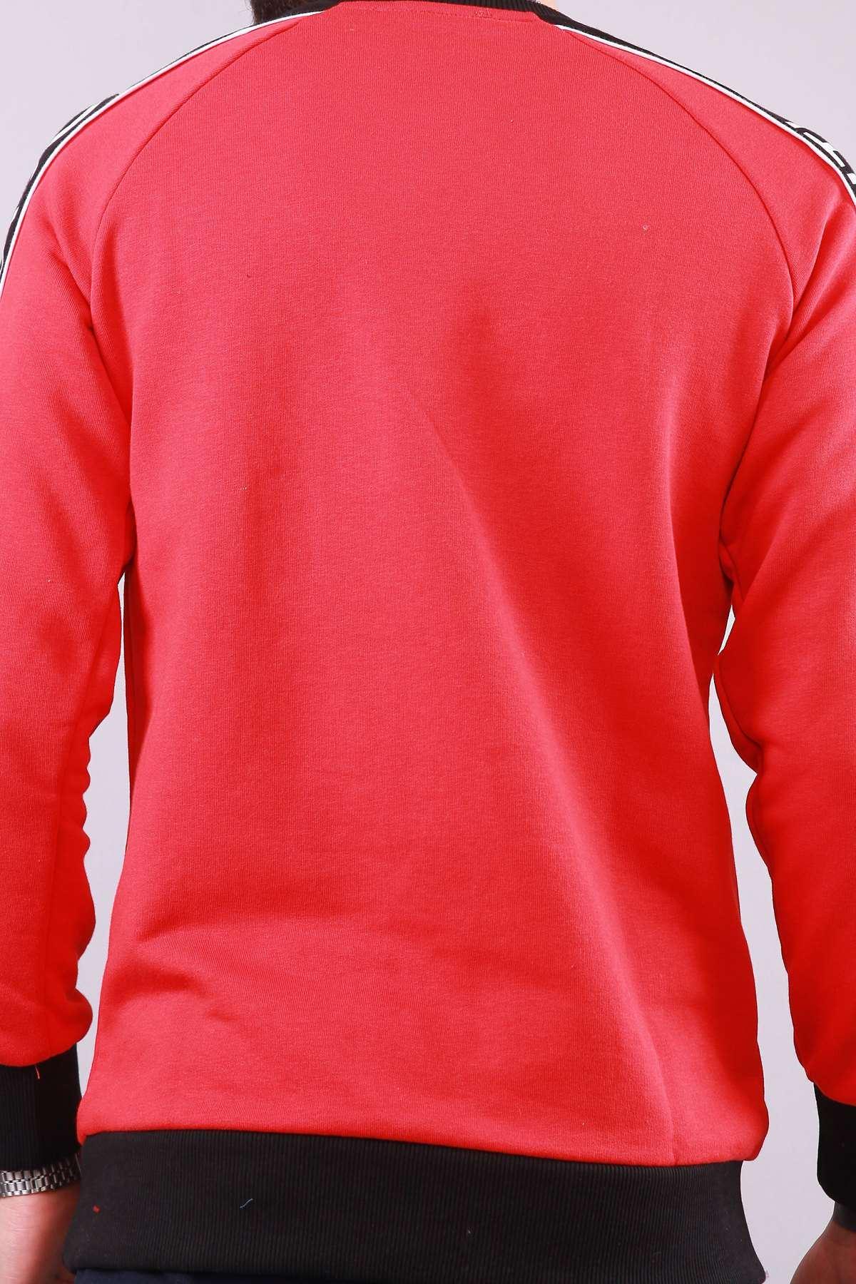 Kolu Choose Your Yazılı Göğüs Cırt Cırtlı  Sweat Kırmızı