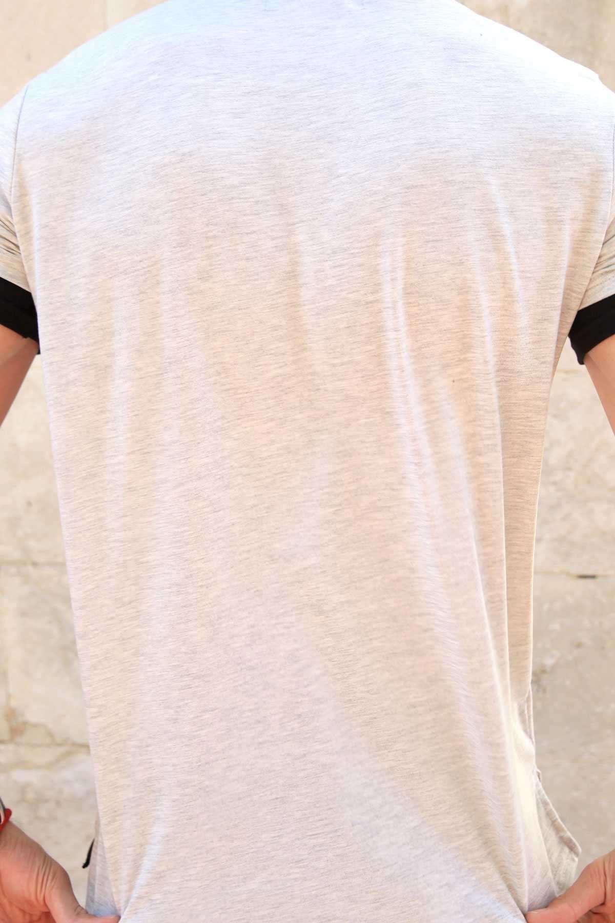 Kol Ucu Ve Eteği Astarlı Önü Cash Yazılı Sıfır Yaka Tişört Gri