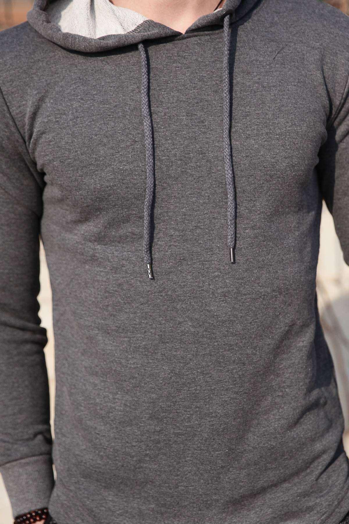 Kolu Gül İşlemeli Kapşonlu Sweatshirt Antrasit
