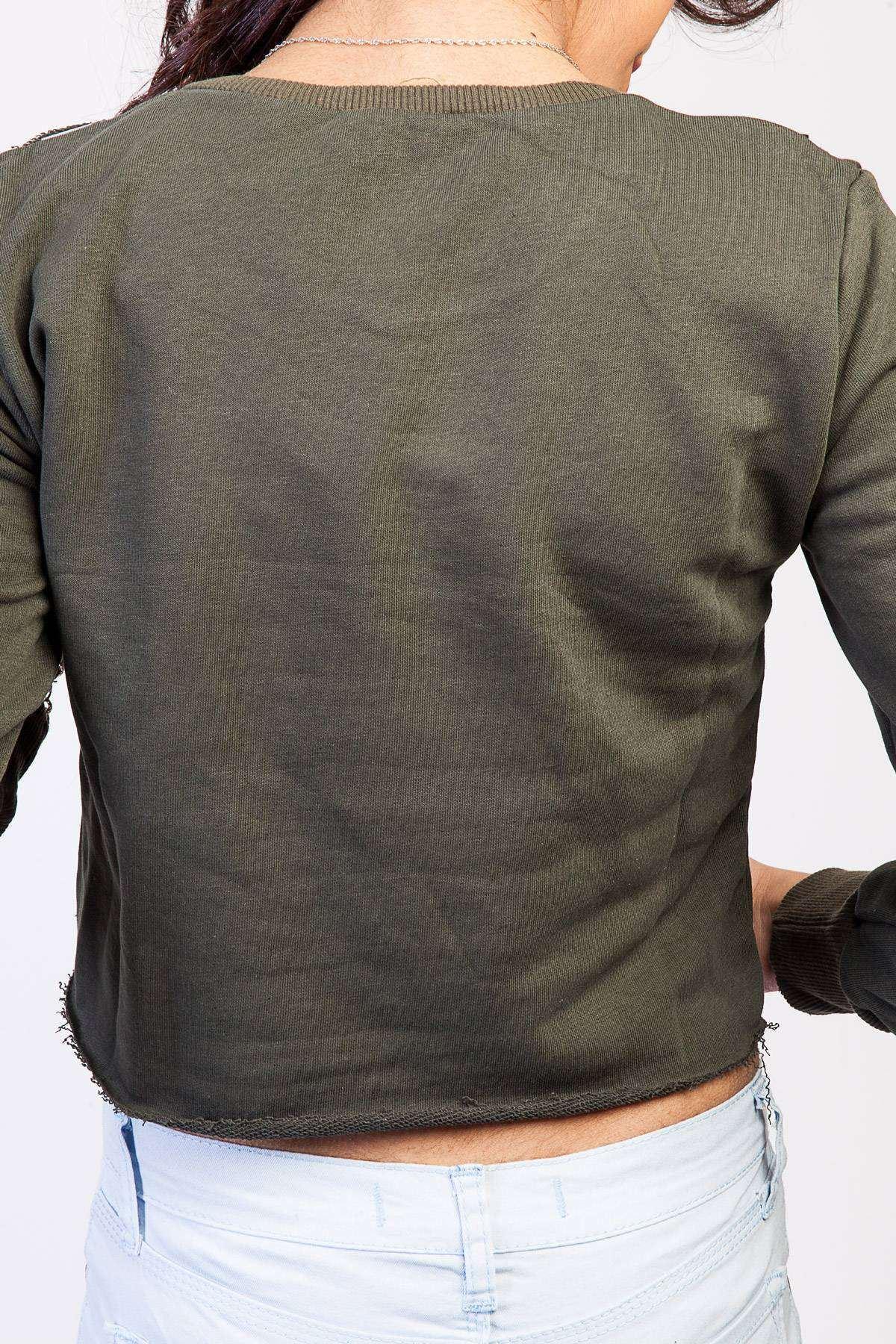 Kolu Lazer Kesikli Yanlar Yazı Şeritli Mini Sweatshirt Haki