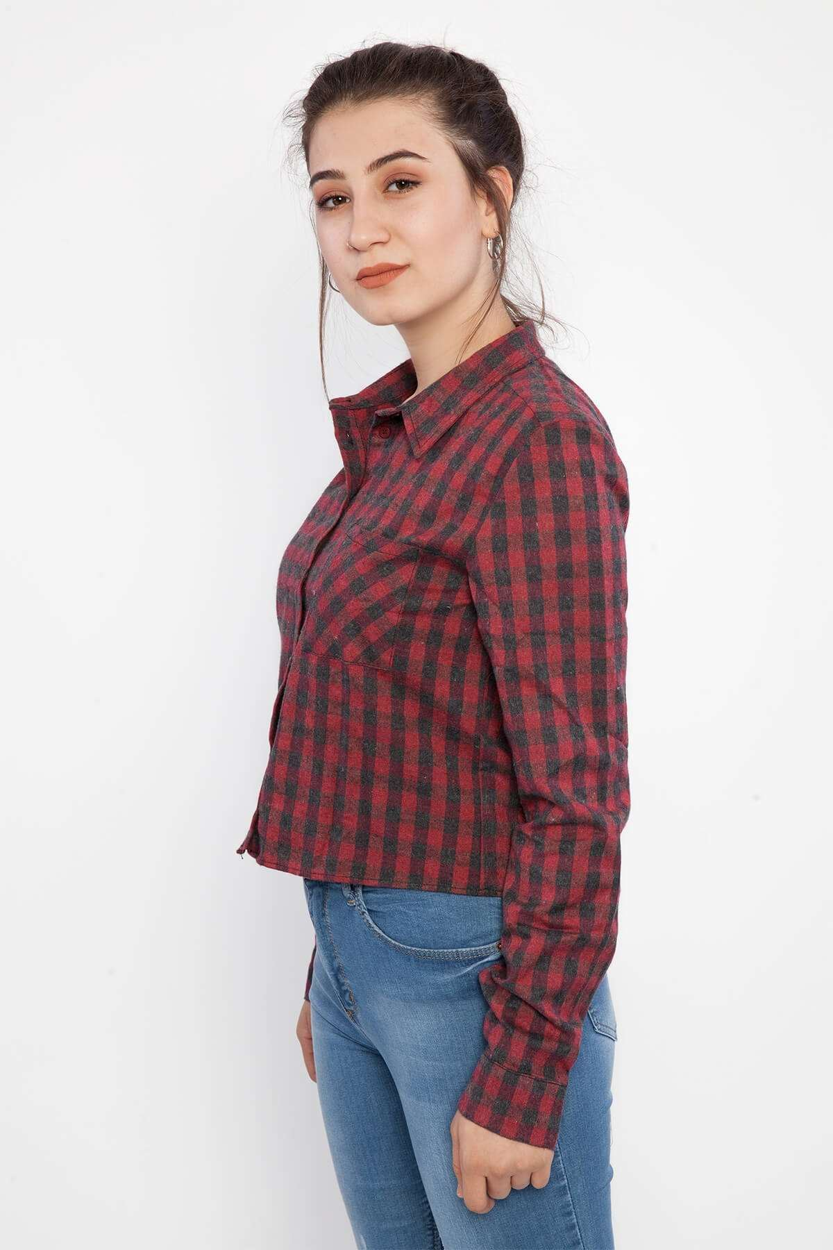 Küçük Kareli Cep Detaylı Kısa Gömlek Bor-Syh