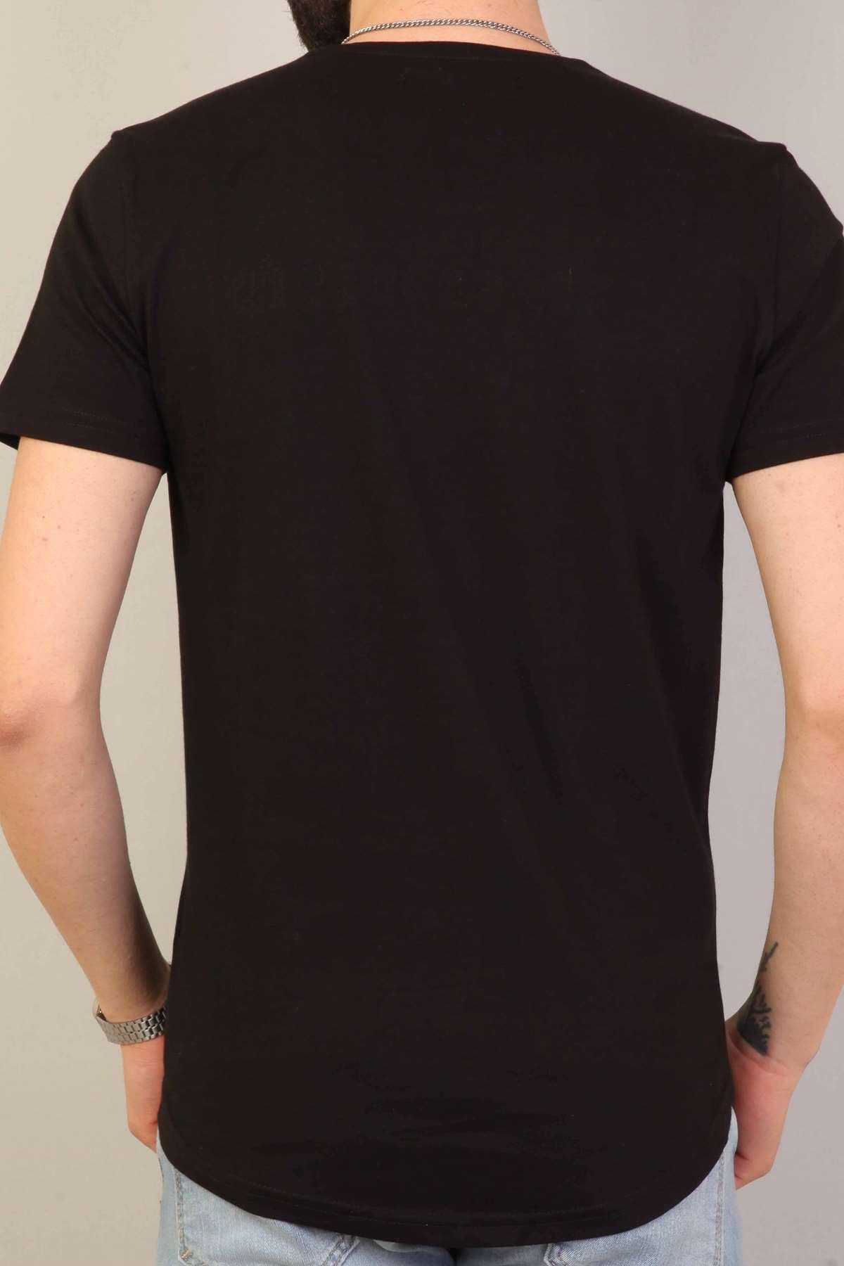 Kuru Kafa Baskılı Yazılı Sıfır Yaka Tişört Siyah