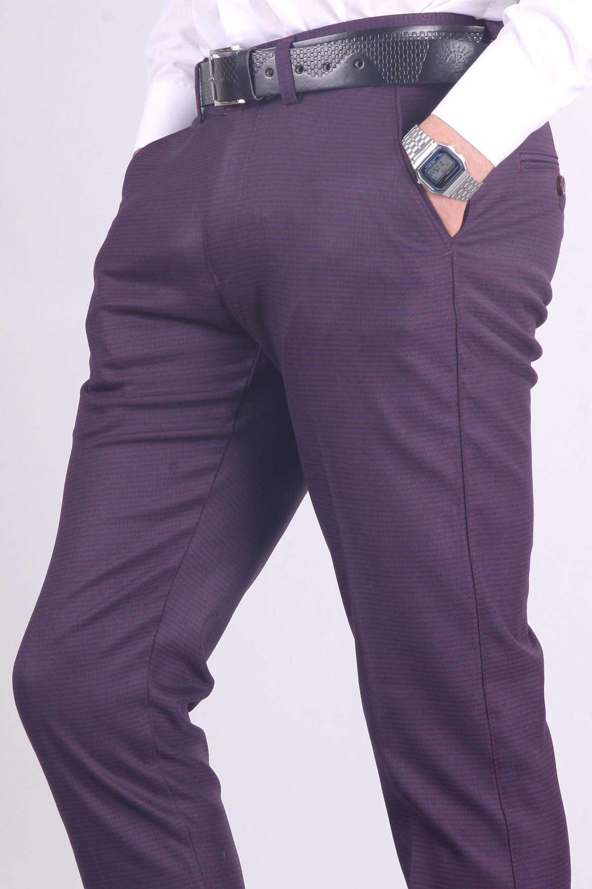 Küçük Kare Desenli Yan Gizli Cepli Slim Fit Pantolon Lacivert-Bordo