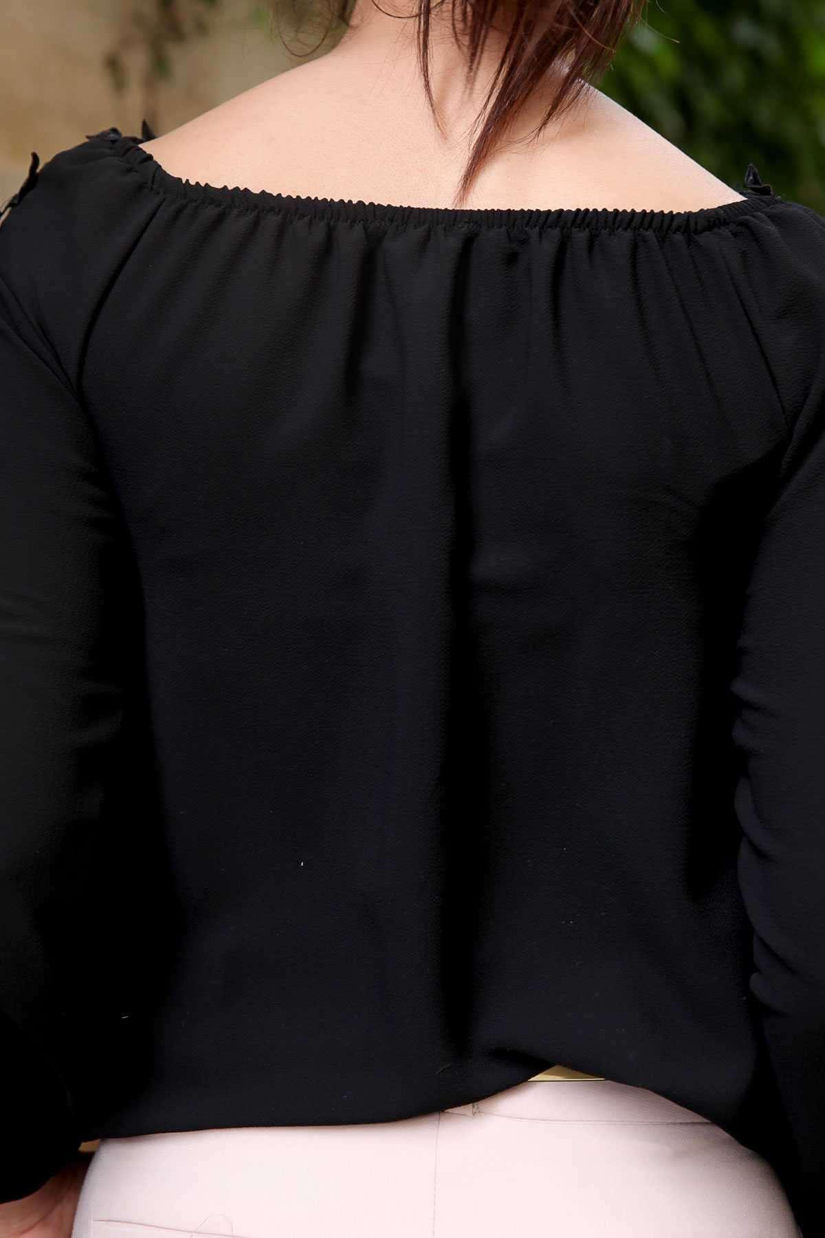 Kolu Yakası Dantel Yapraklı Düşük Omuz Bluz Siyah