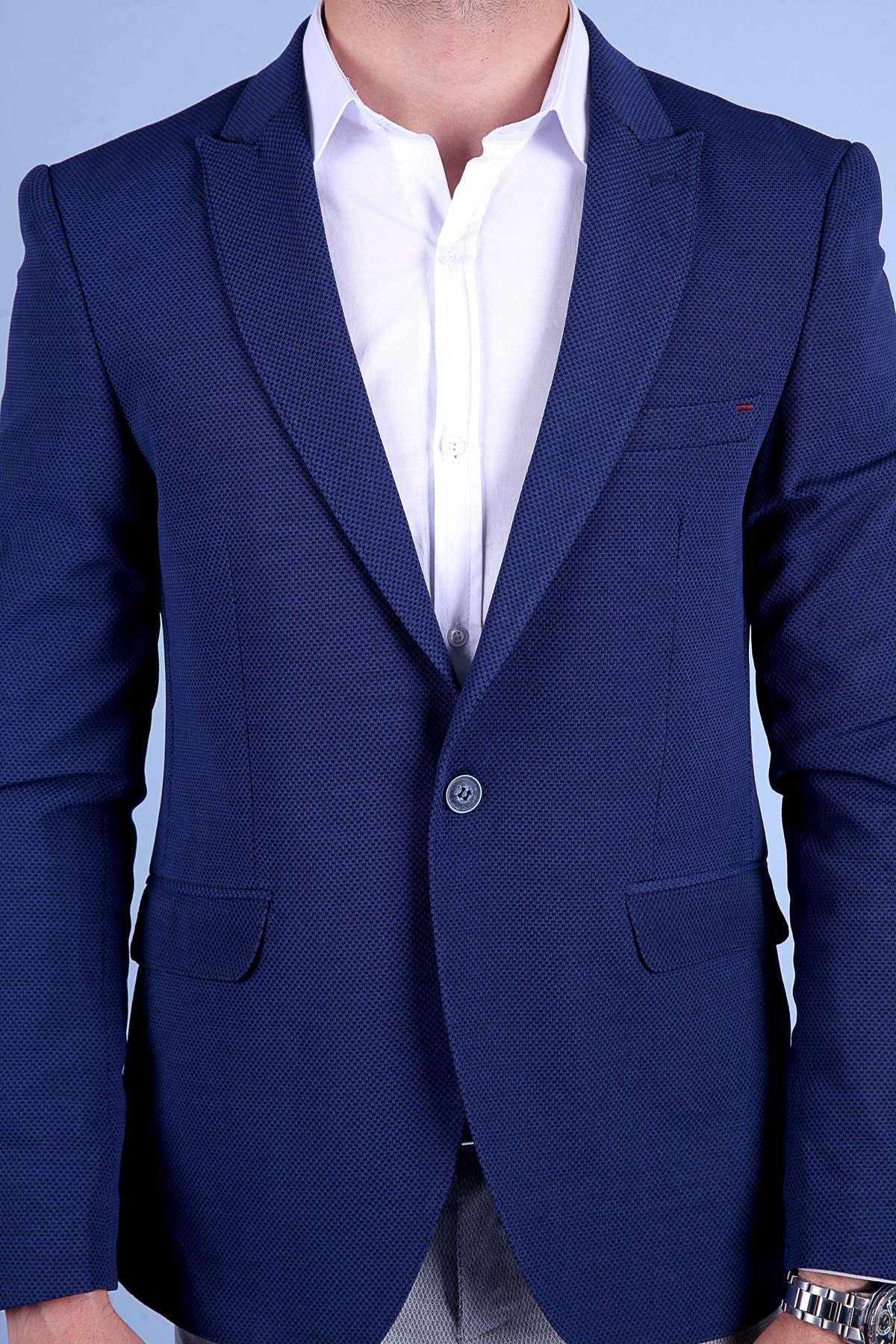 Küçük Kare Desenli Slim Fit Blazer Ceket Lacivert