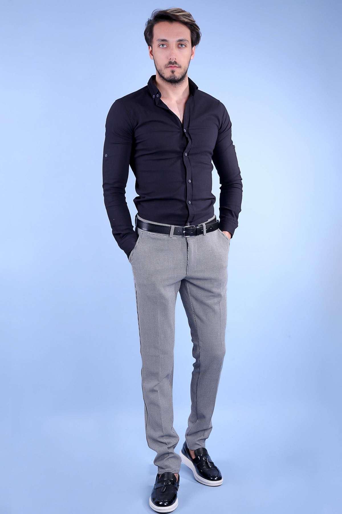 Küçük Kare Desenli Ön Gizli Cepli Slim Fit Pantolon Siyah-Beyaz
